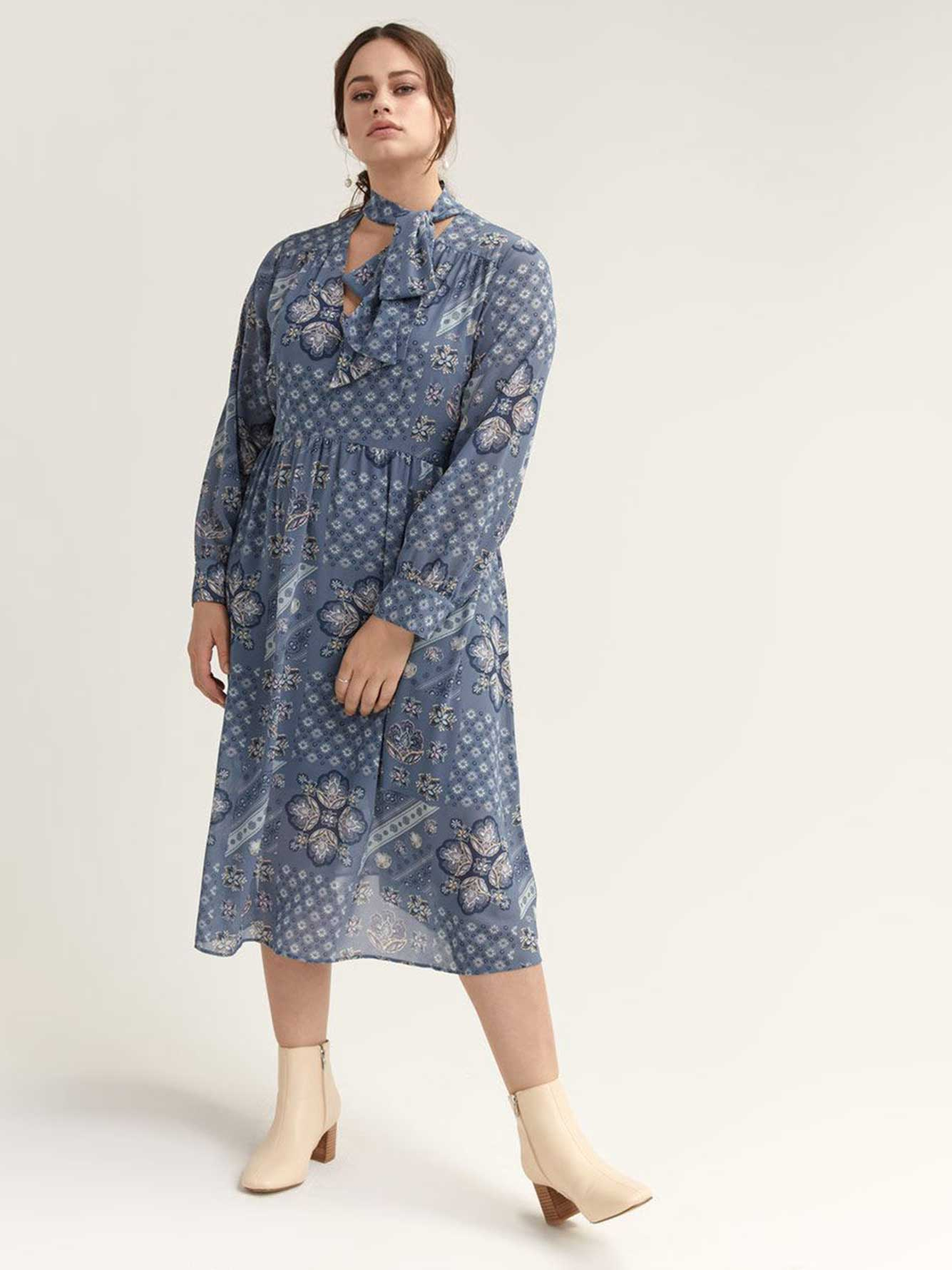 Long Sleeve Printed Dress - Michel Studio