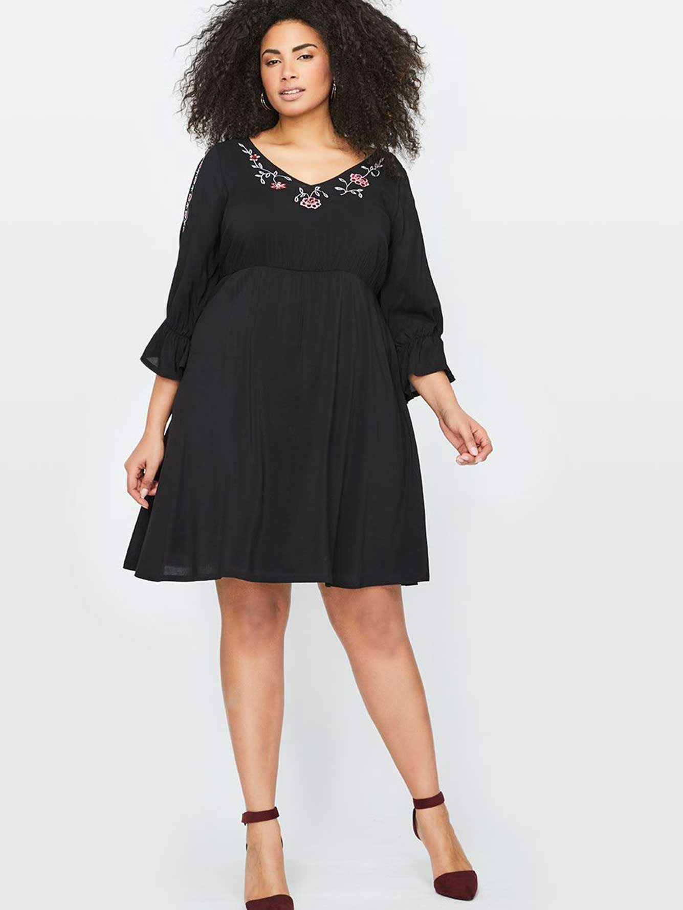 Michel Studio Embroidered Fit & Flare Dress