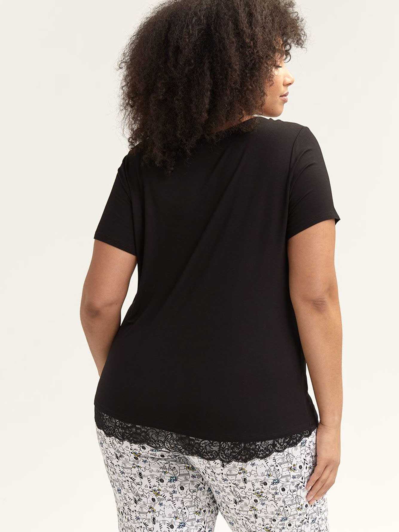 Solid Pyjama T-Shirt with Lace - Déesse Collection