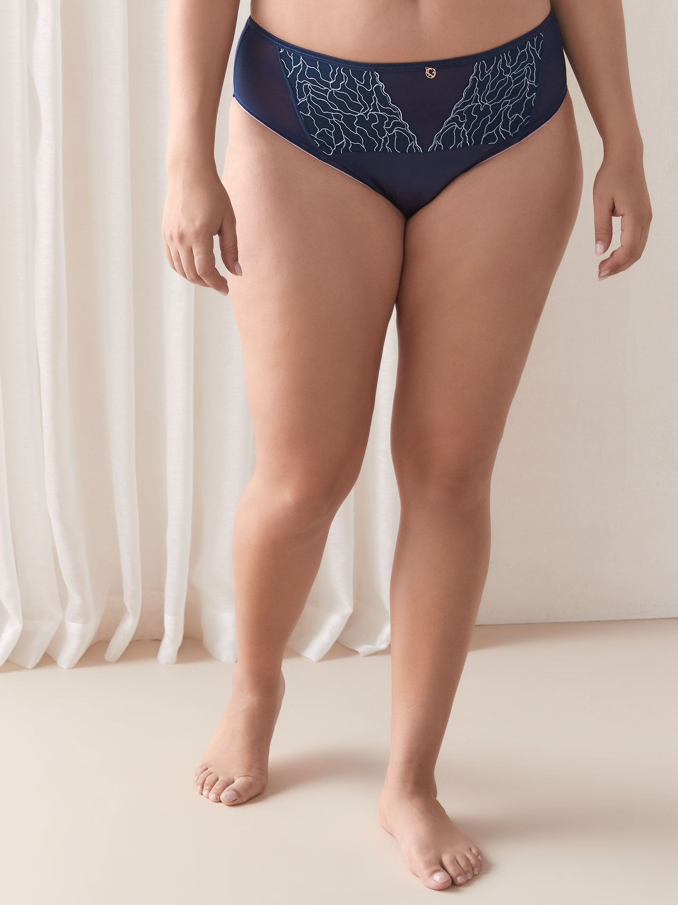 High Cut Satin Panty with Embroidery - Ashley Graham