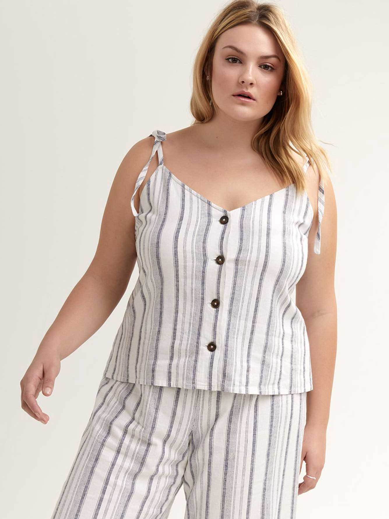 Buttoned Down Striped Cami - Michel Studio