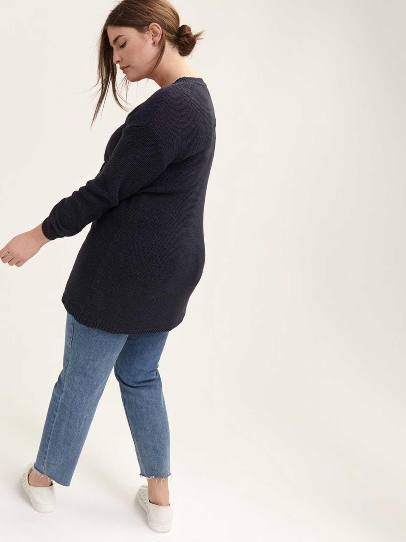 Wide V-Neck Tunic Sweater - L&L