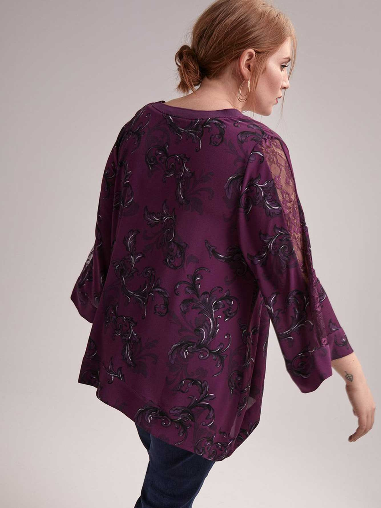 Shark-Bite Printed Blouse with Lace Embellished Sleeve - L&L
