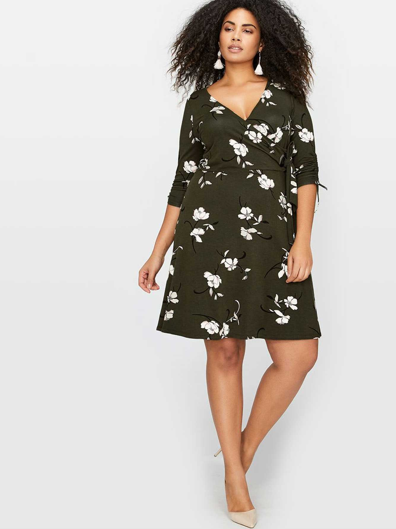 Michel Studio Faux Wrap Printed Dress