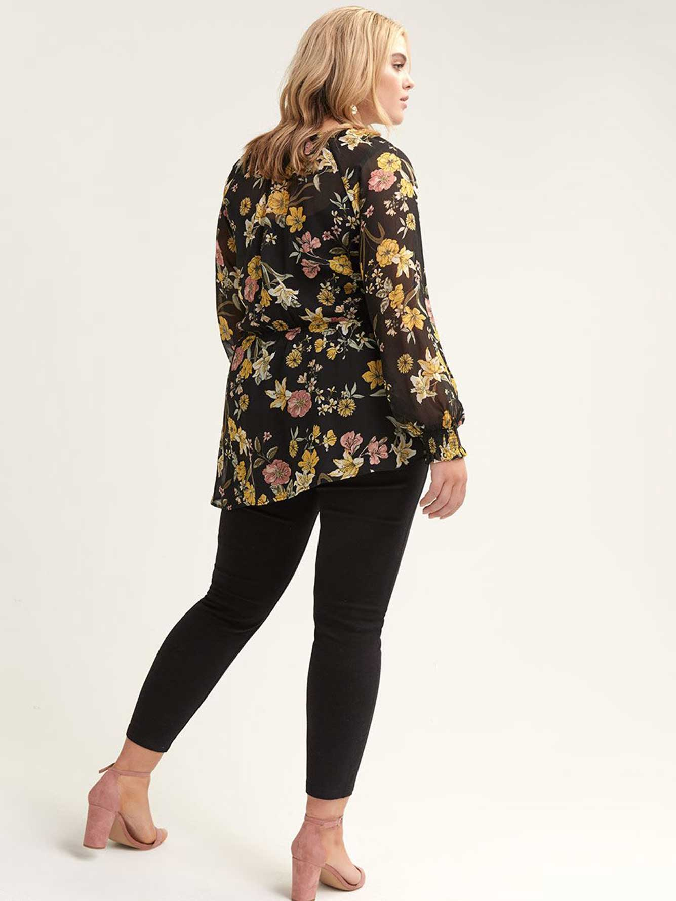 Floral Peplum Blouse with Balloon Sleeves - L&L