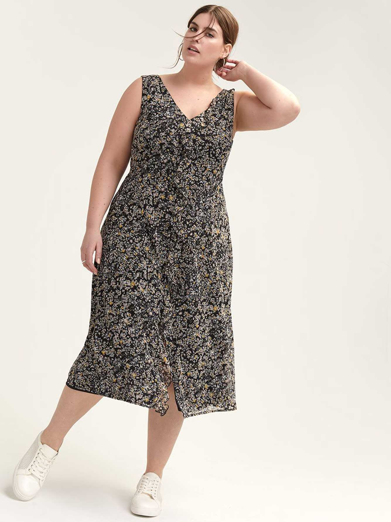 Floral Mesh Dress with Front Ruffle Trim - Michel Studio