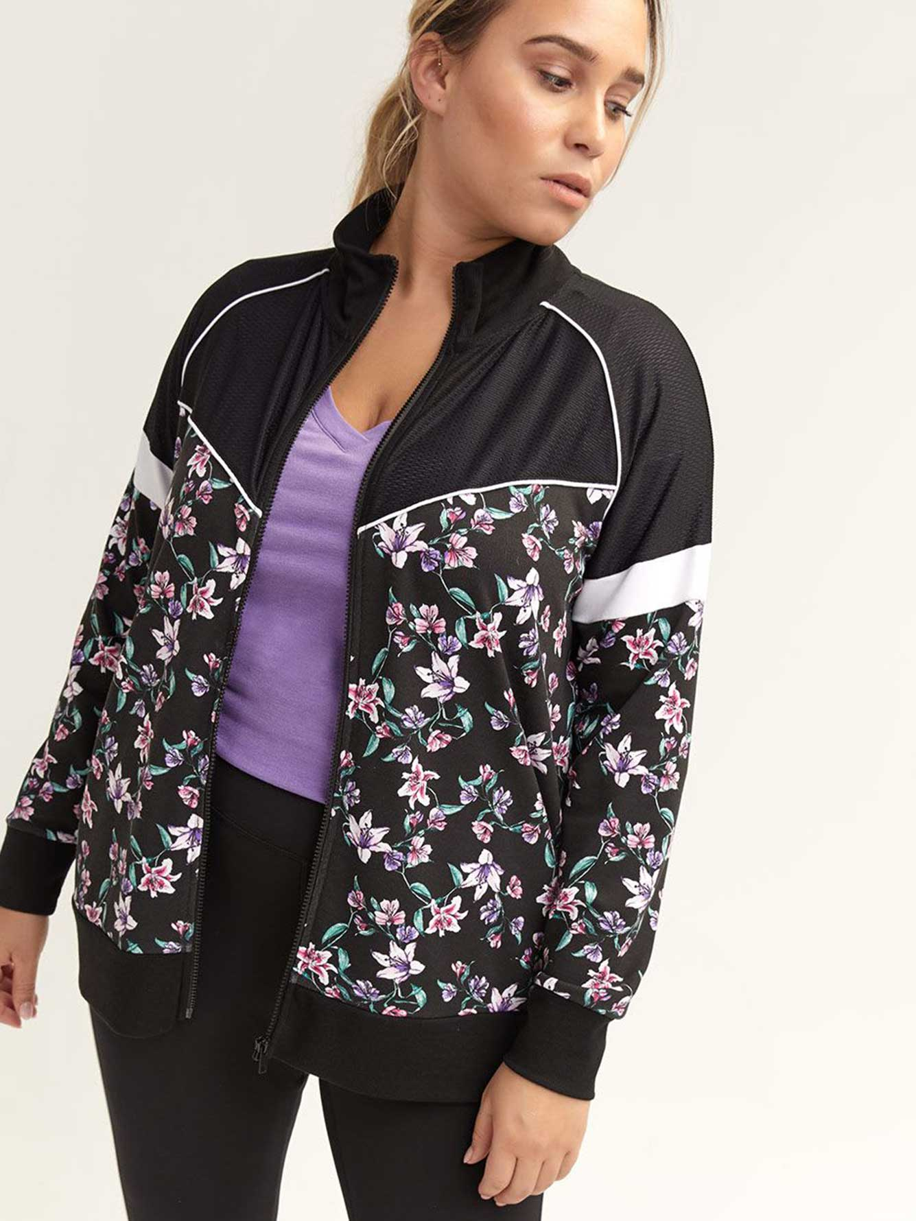 Zip-Up Tracksuit with Floral Print - Nola