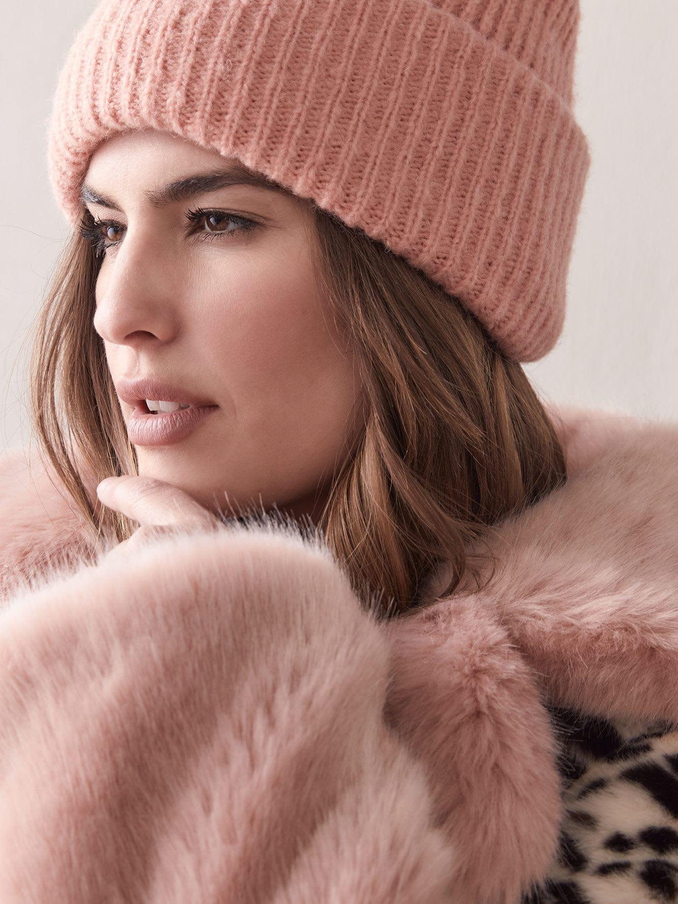 Manteau en fausse fourrure guépard rose Sarah - jakke