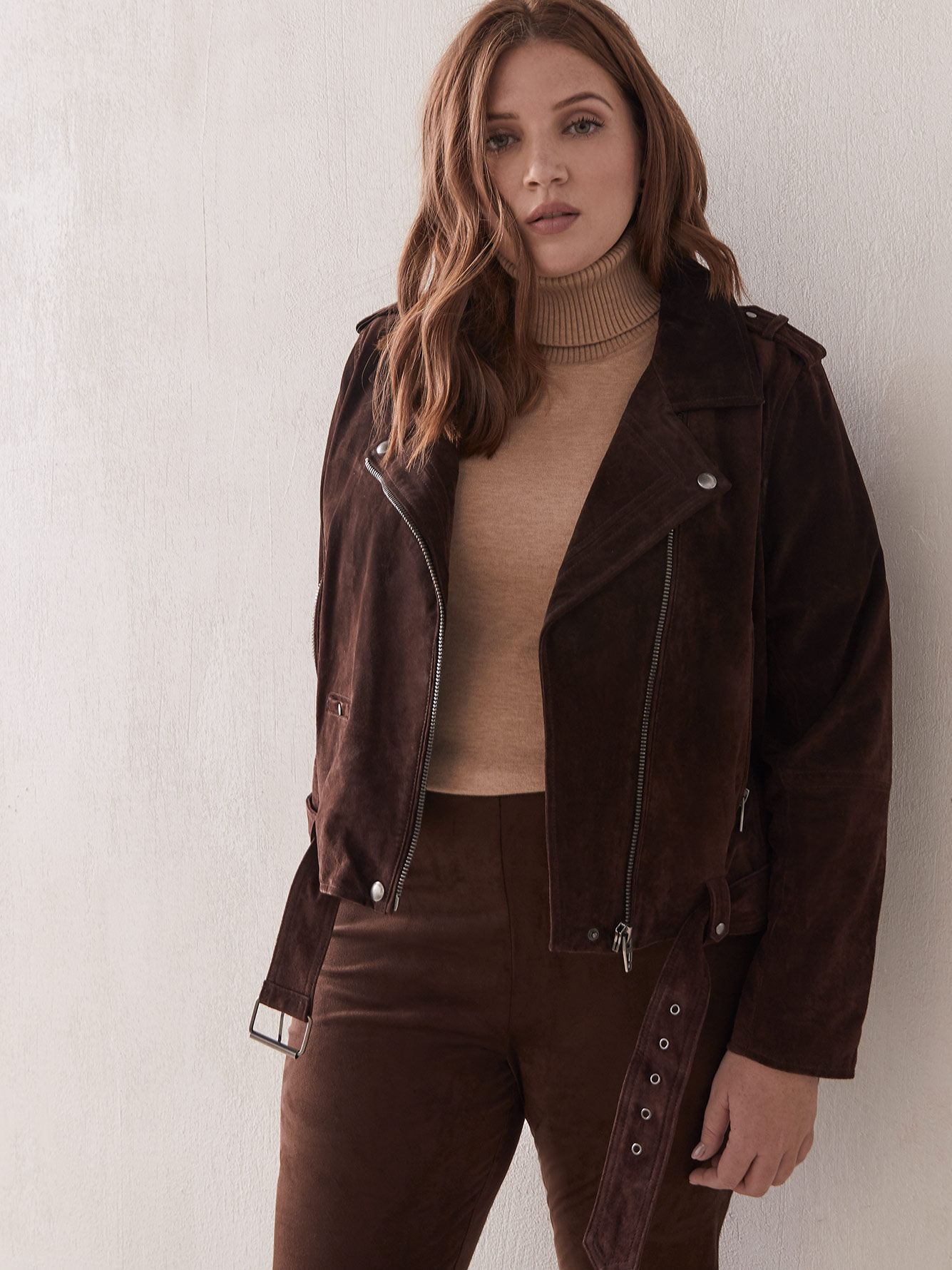 Belted Suede Moto Jacket - Blank NYC