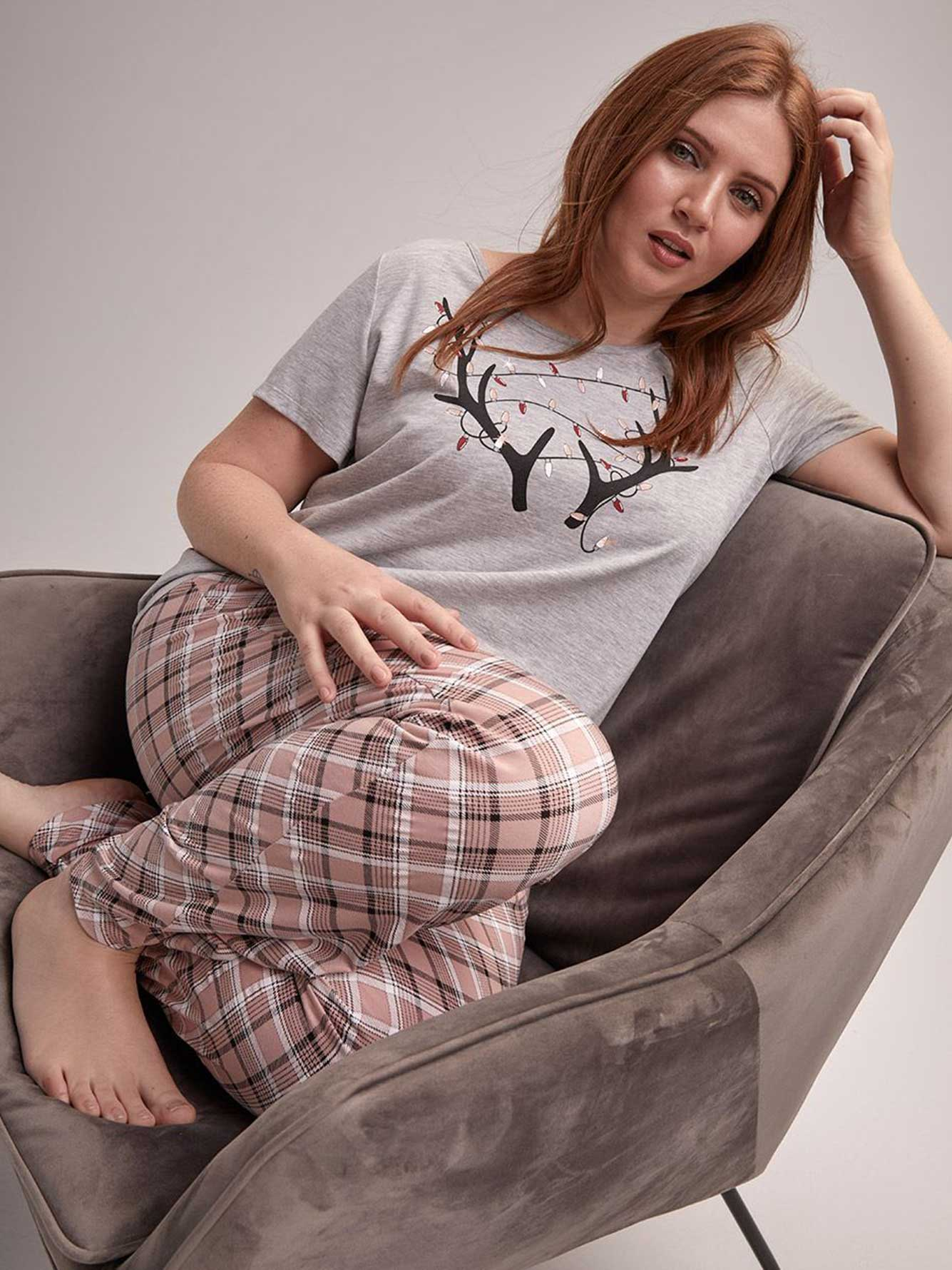 Ensemble pyjama t-shirt et pantalon bois de cerf - Collection Déesse