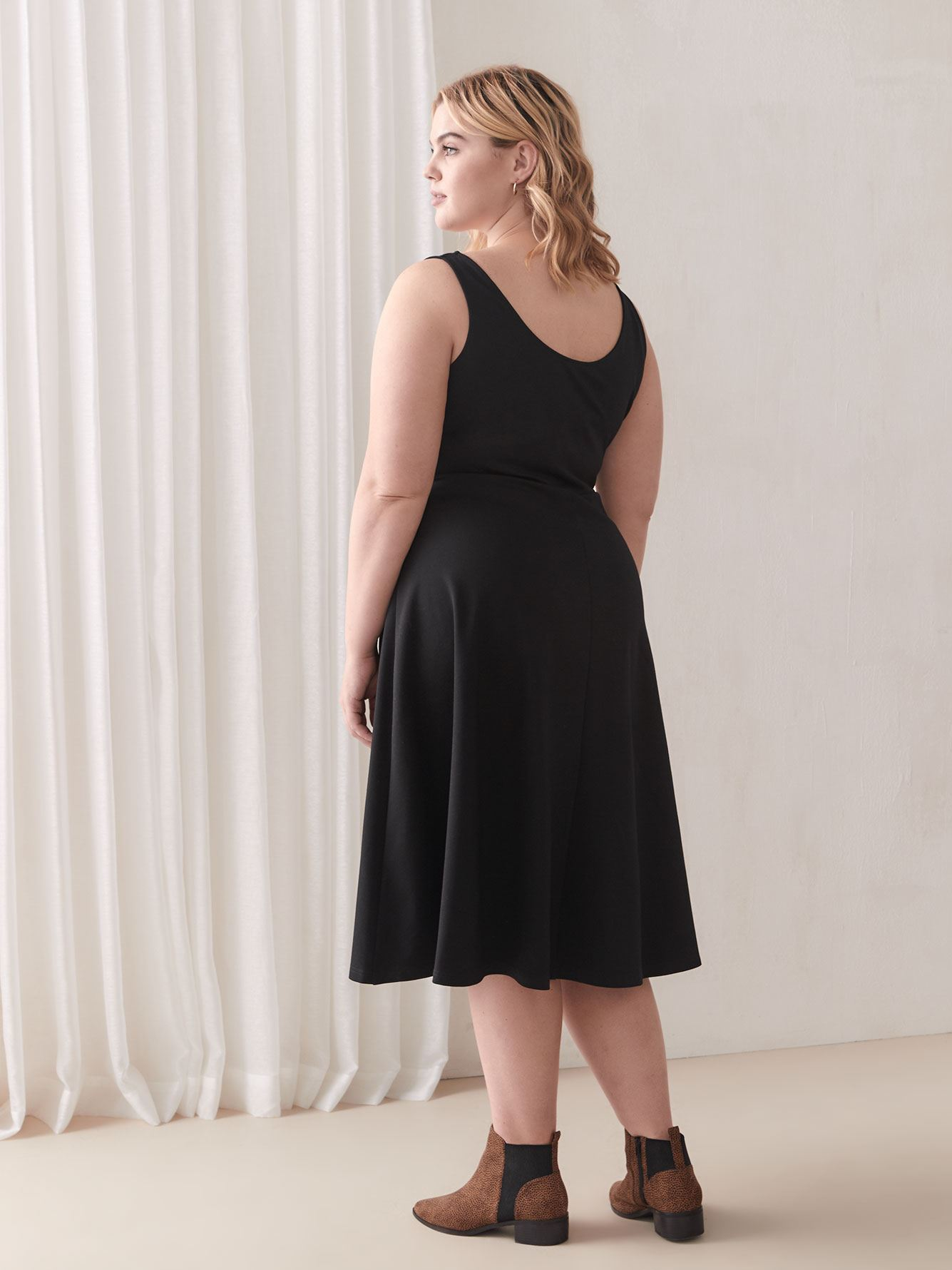 Fit & Flared Belted Black Dress - City Chic