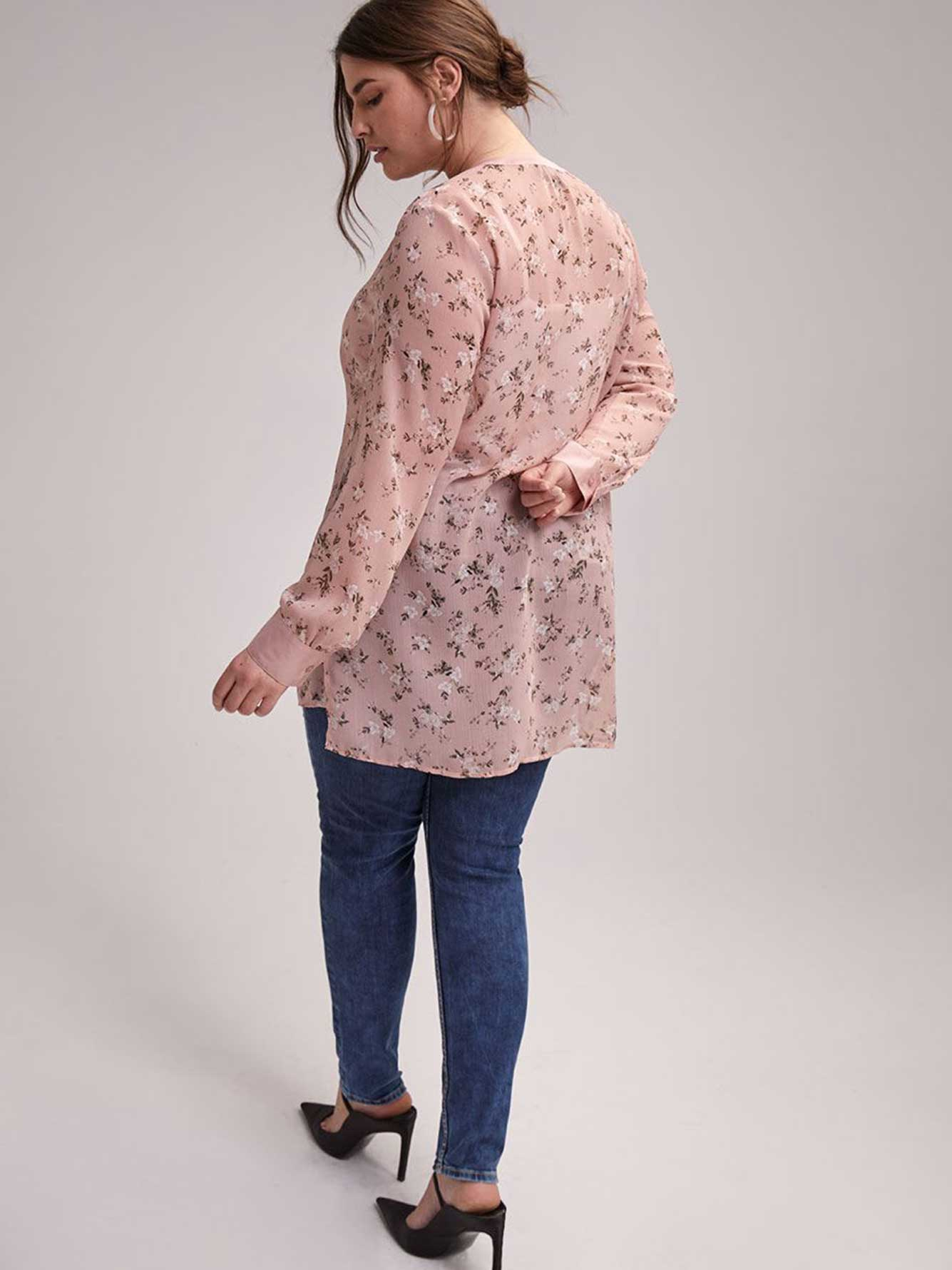 Printed Tunic Blouse with Smocking Details - Michel Studio