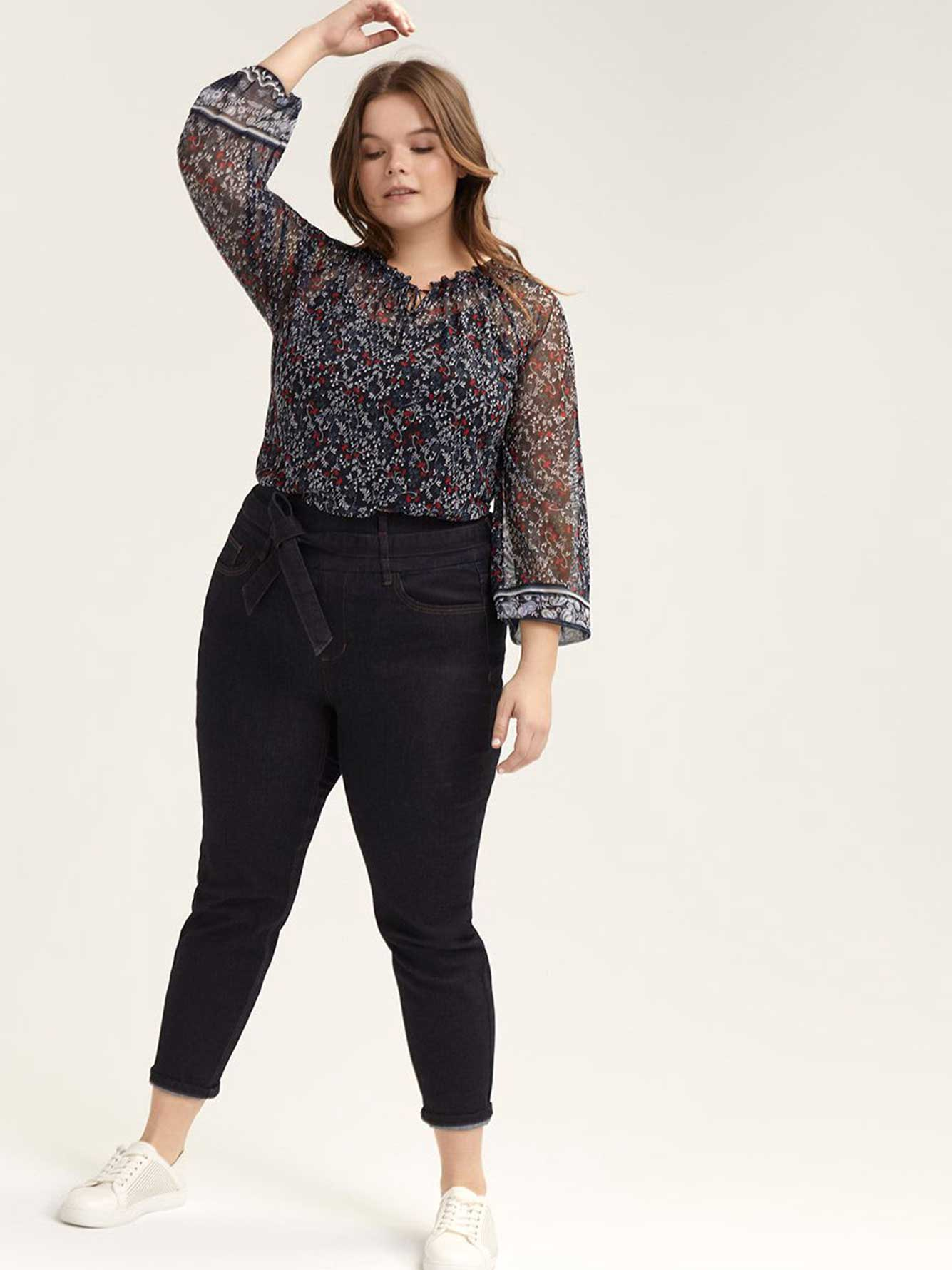 Ruched-Neck Puff-Sleeve Top - Michel Studio