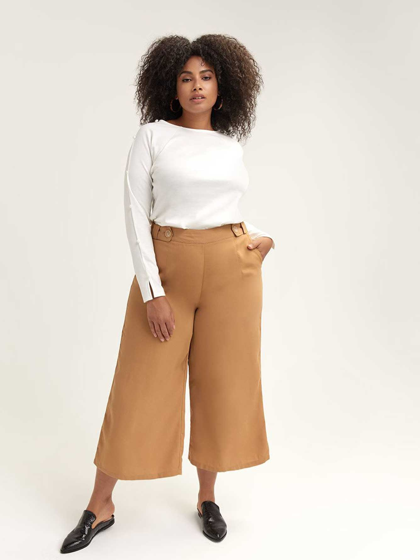 Wide-Leg Cropped Trouser - Lost Ink