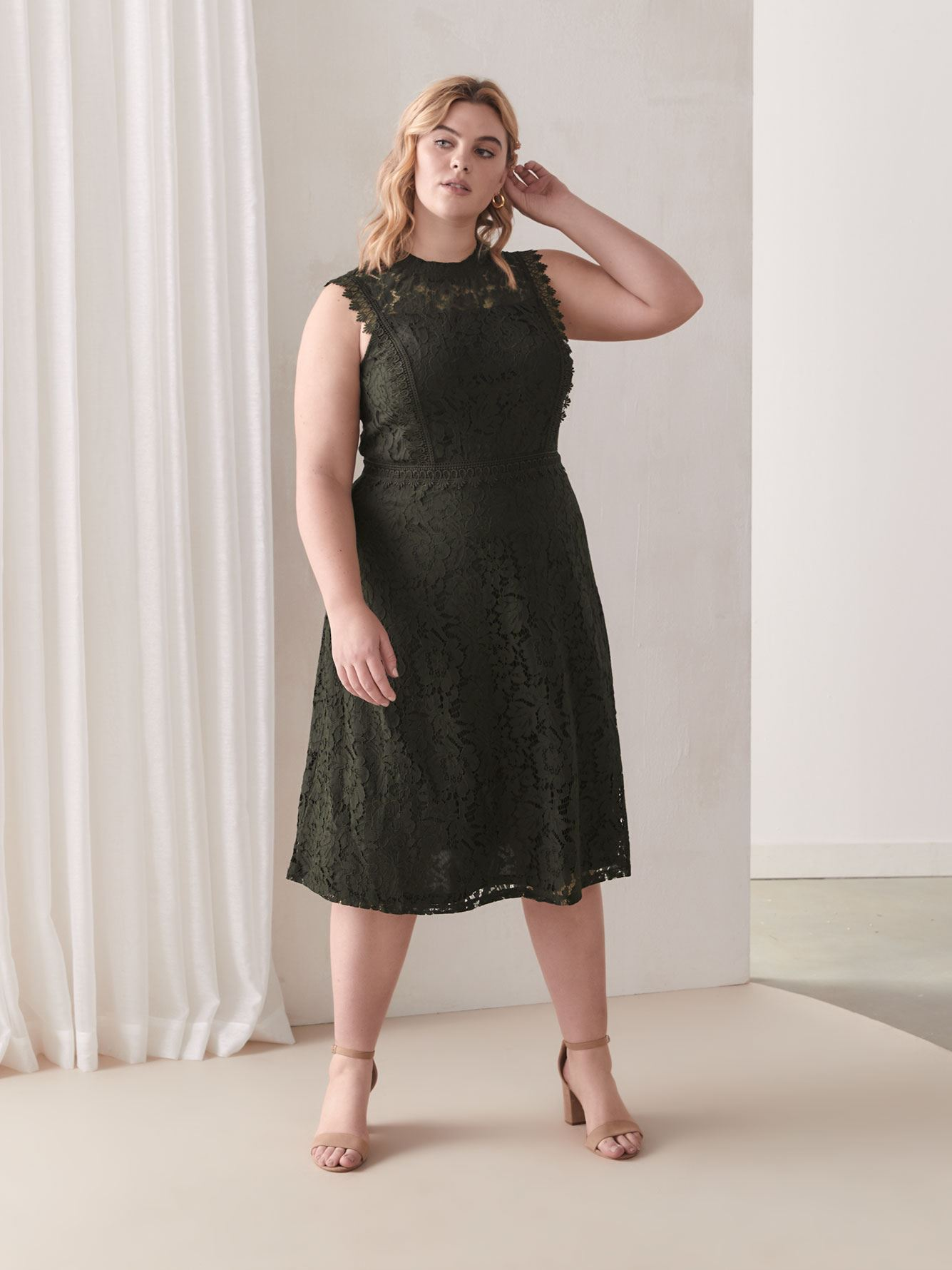 Grazia Khaki Lace Dress - City Chic