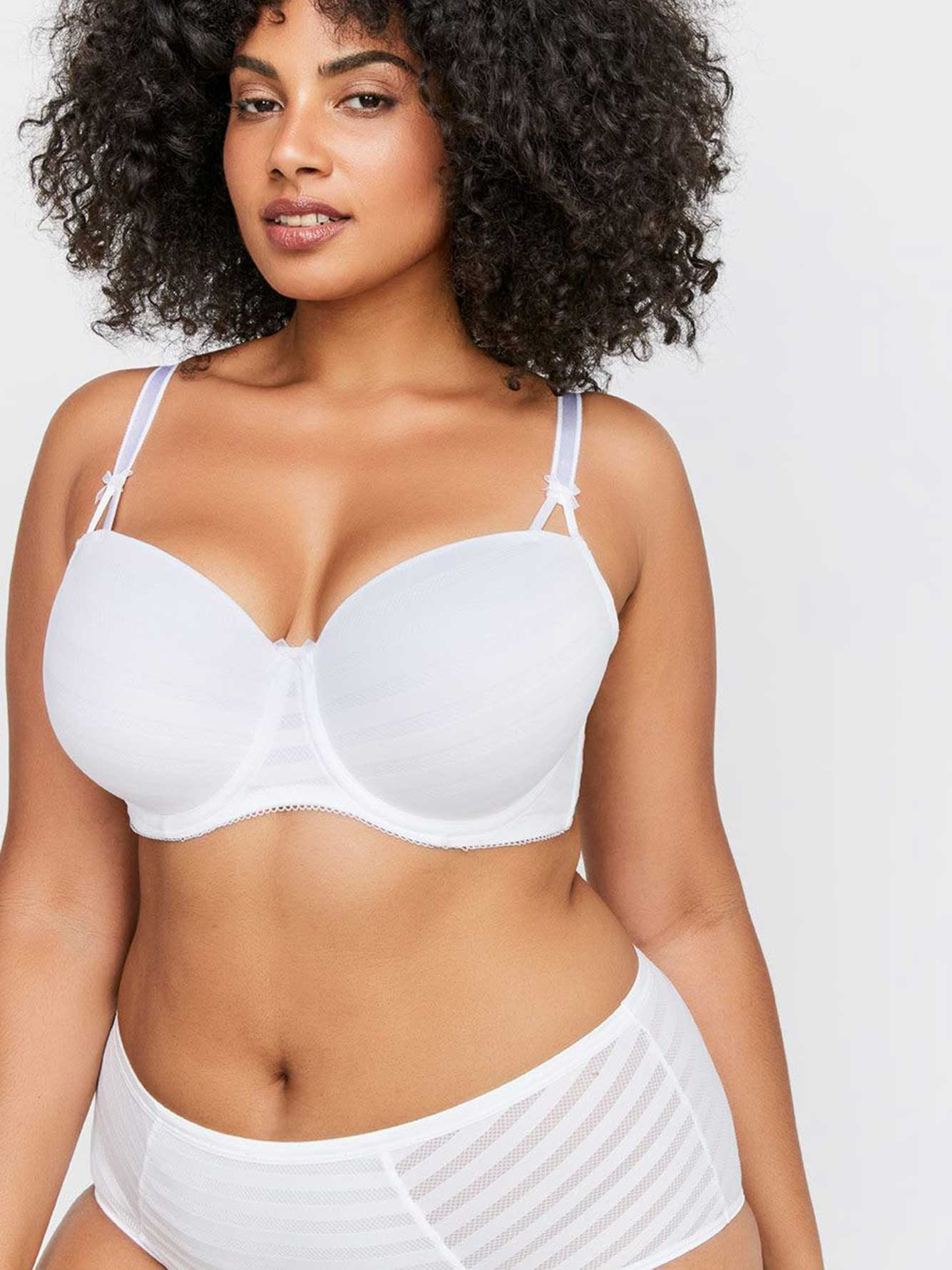 White Basic Shadow Stripe Balconette Bra - Déesse Collection
