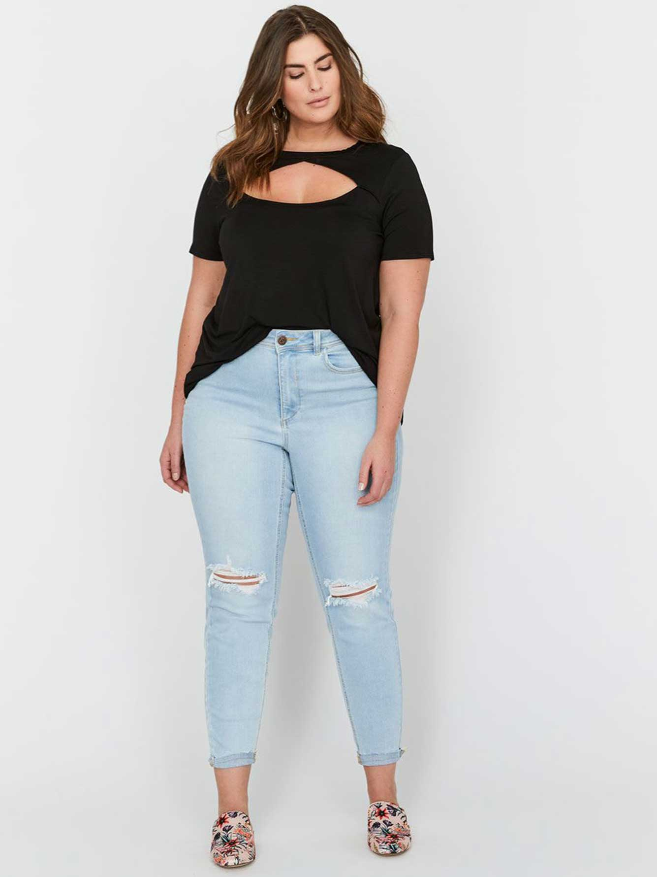 L&L Authentic Skinny Denim with Bleach, Rips & Released Hem