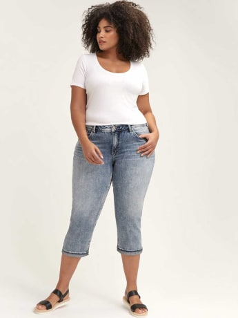 Light Wash Suki Capri - Silver Jeans