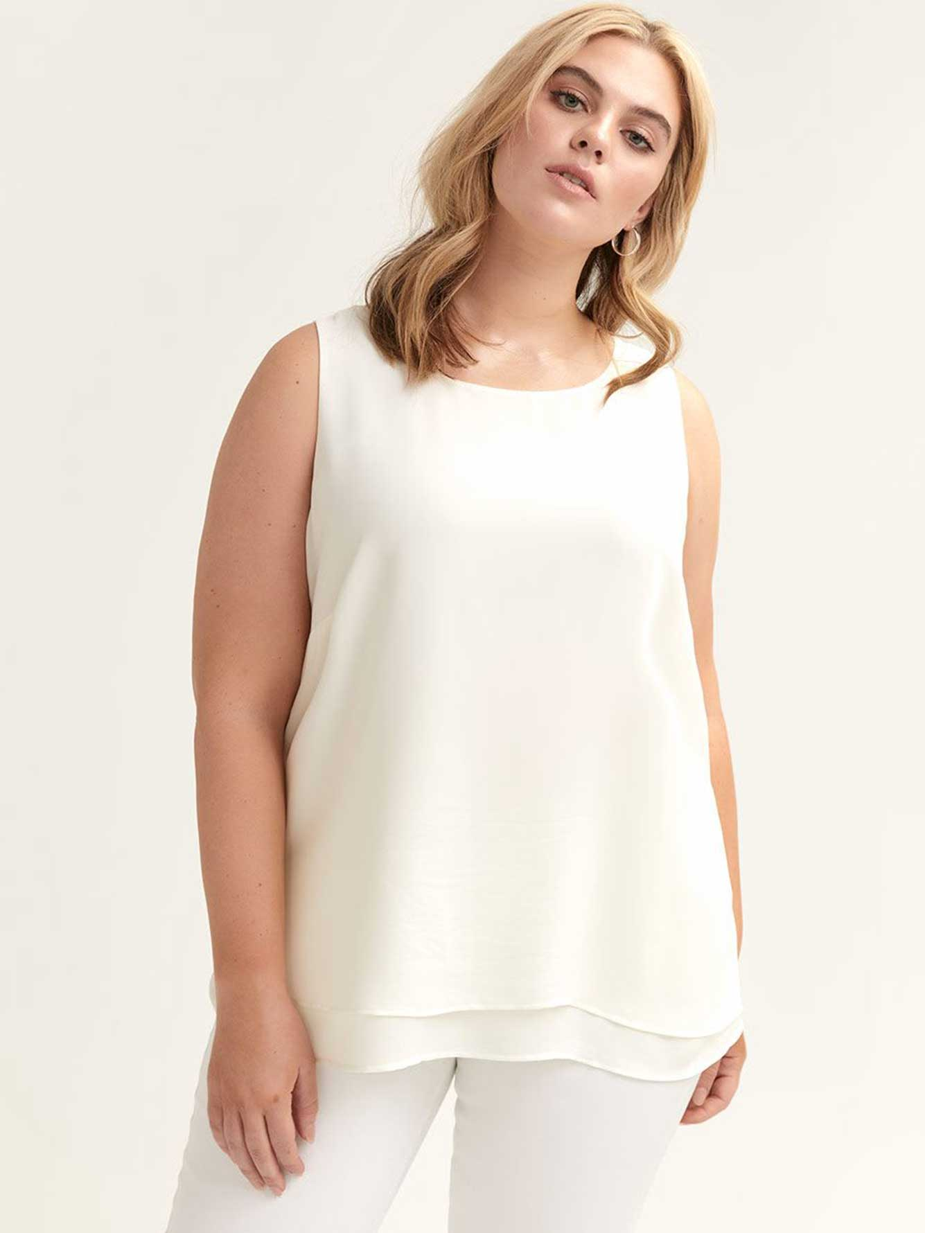 High-Low Double Layer Crew-Neck Cami - Michel Studio