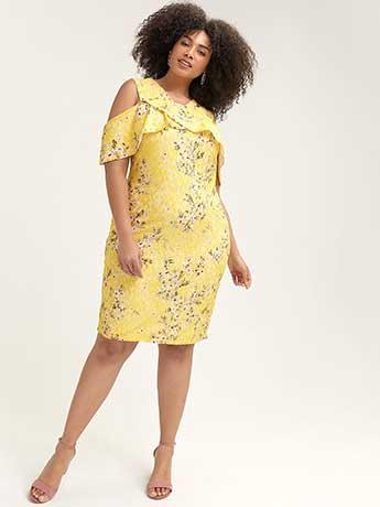 Off-the-Shoulder Yellow Lace Dress - RACHEL Rachel Roy