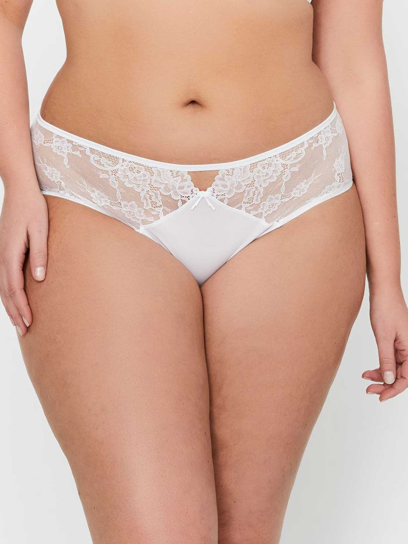 Ashley Graham High Cut Panty with Lace & Mesh