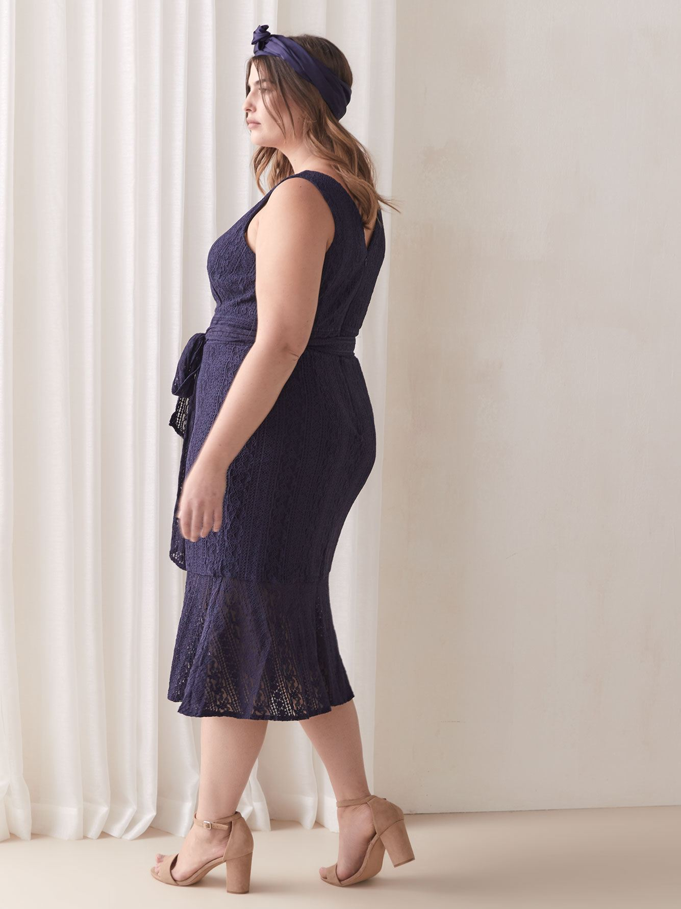 Navy Corded-Lace Dress - RACHEL Rachel Roy