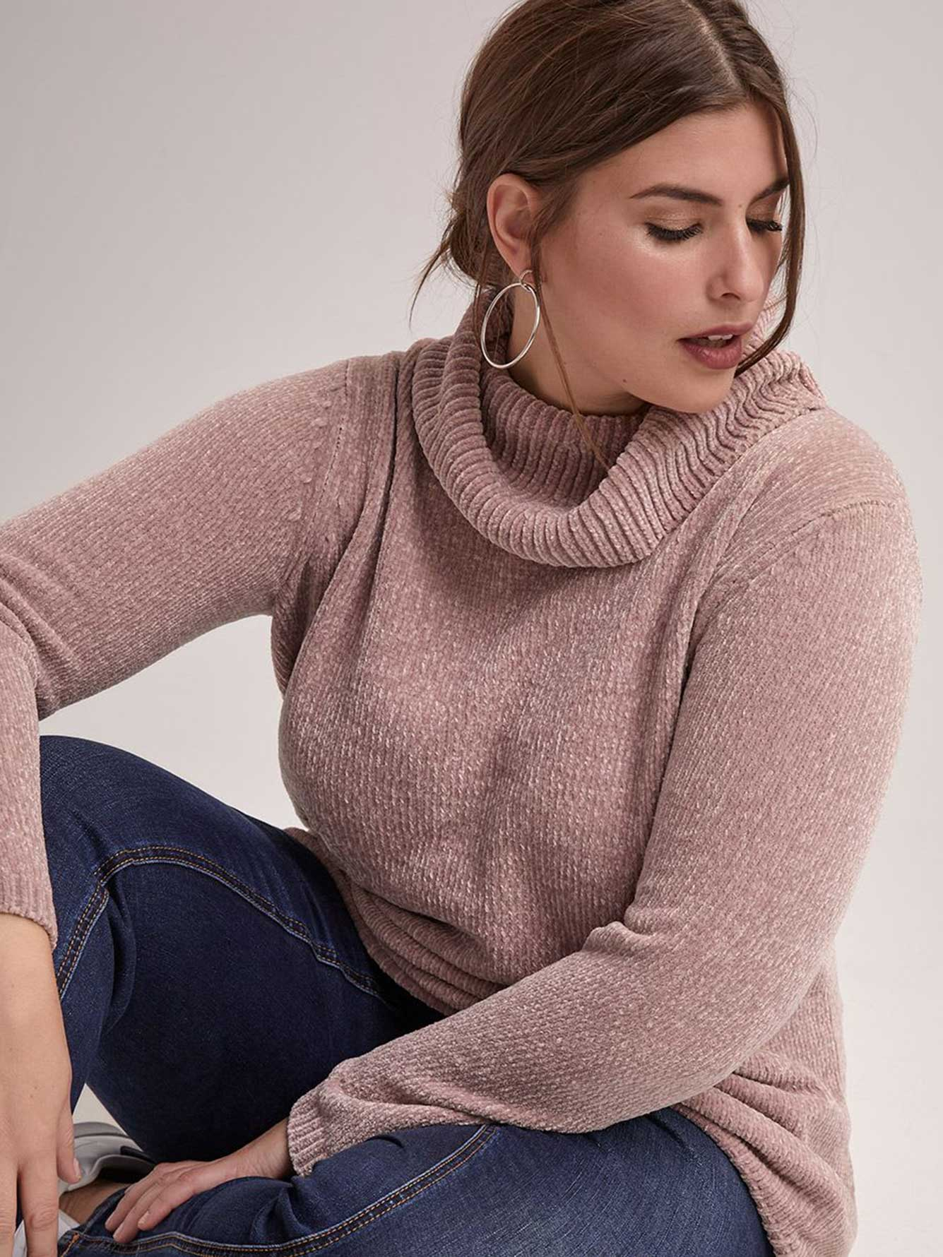 Cowl Neck Sweater with Round Hem - Michel Studio