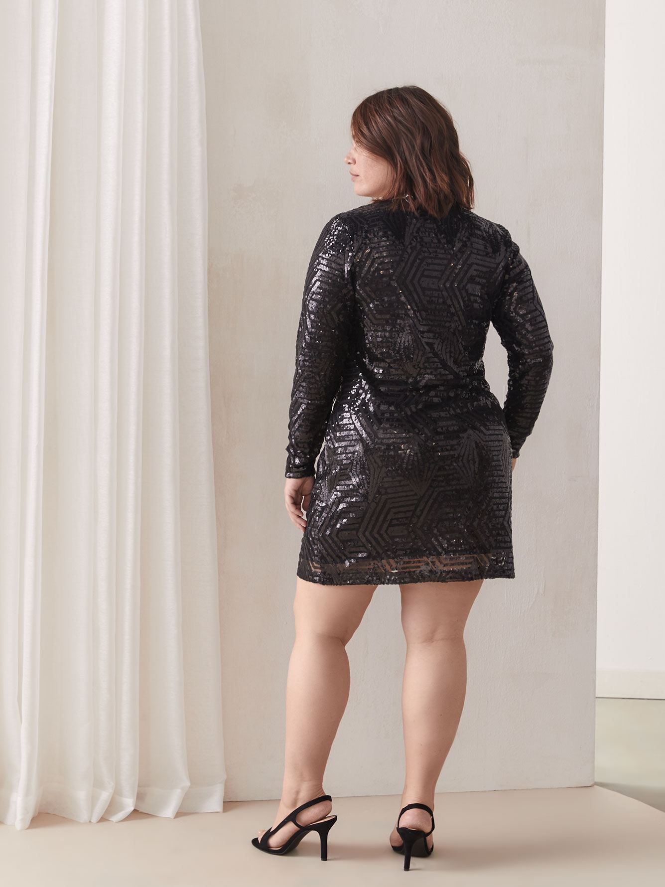 Short Sequin Dress - City Chic