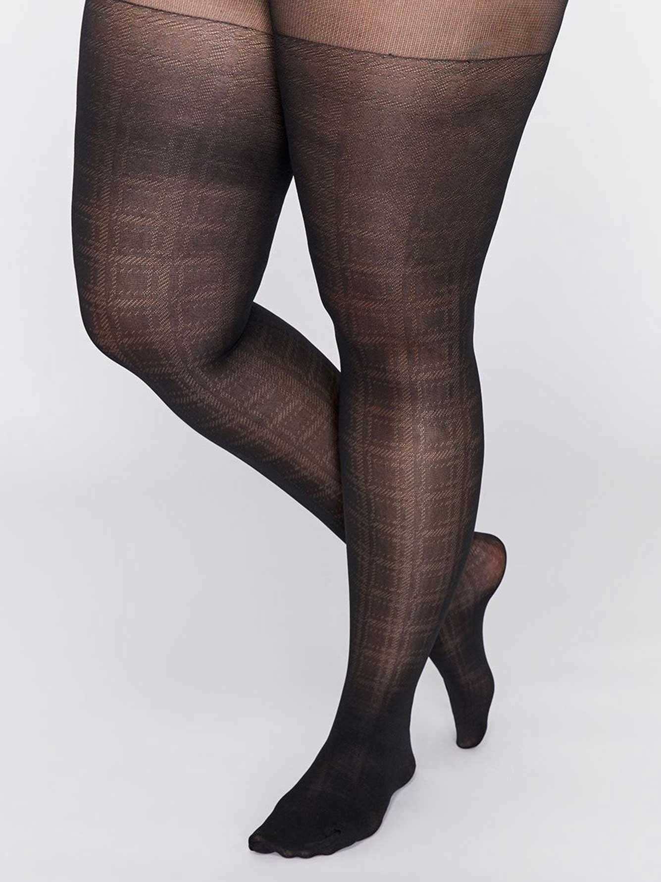 Patterned Plaid Tights