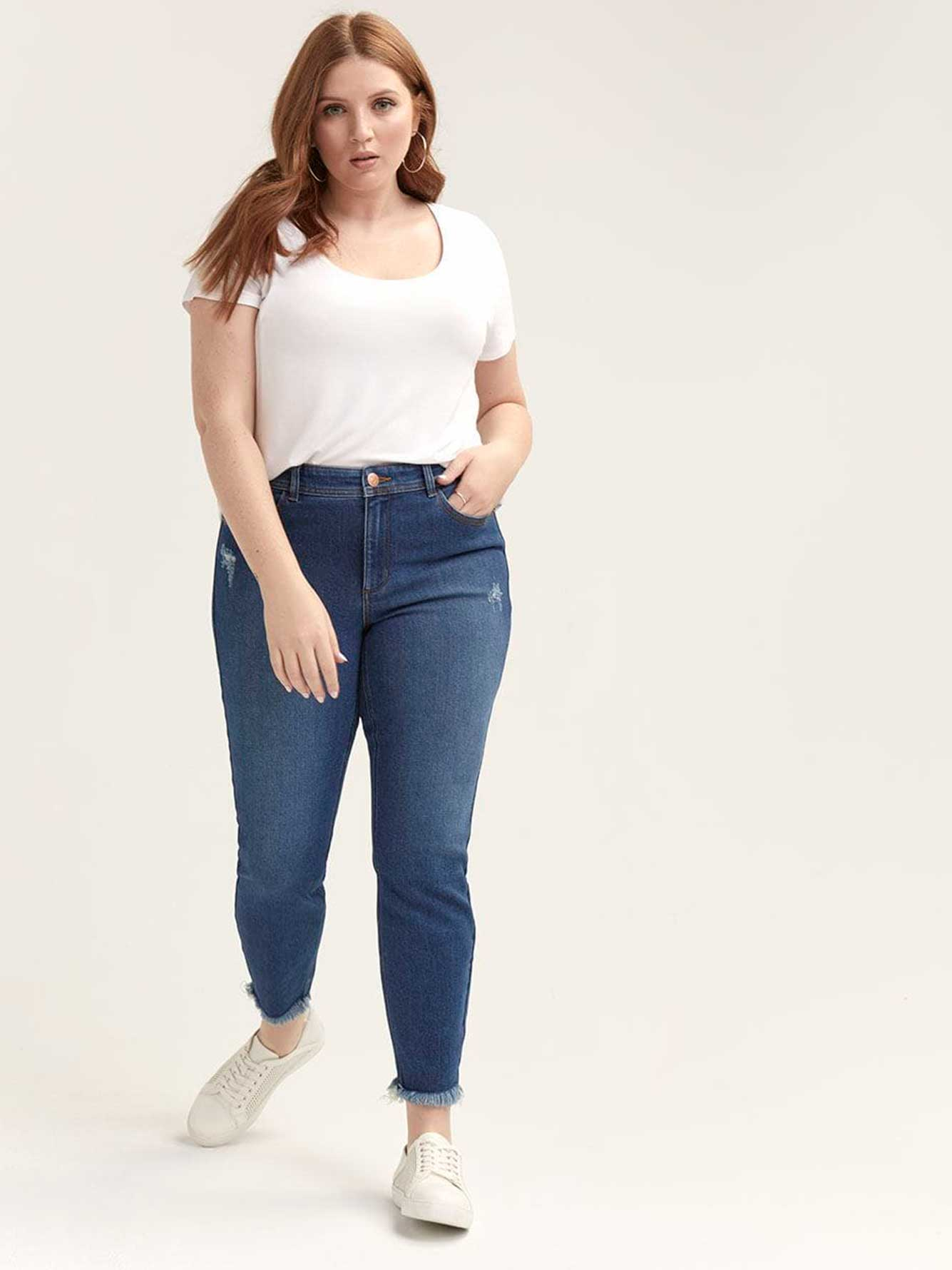 Authentic Ankle Skinny Jeans with Raw Hem - L&L