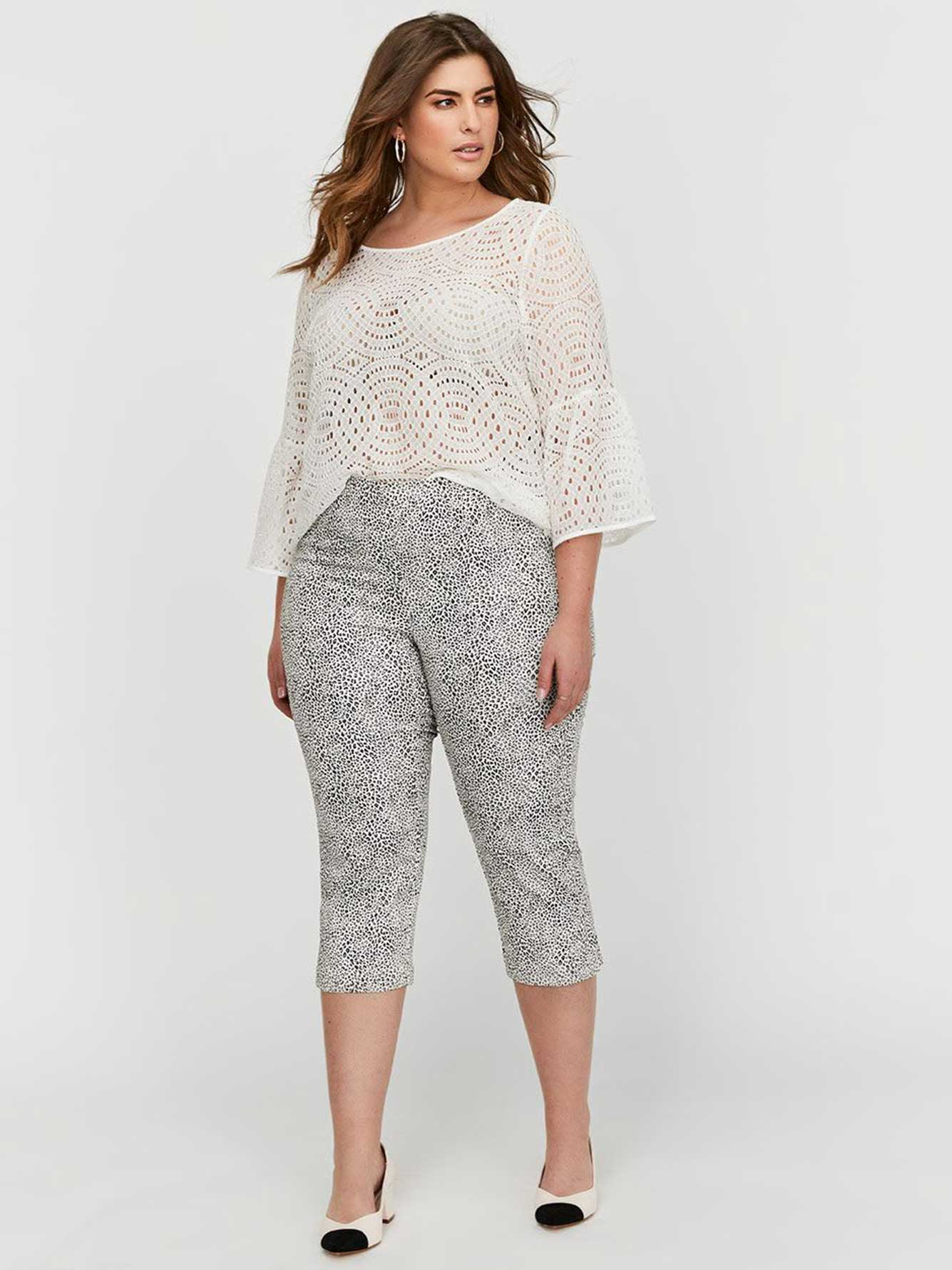 Michel Studio Printed Pull-On Cropped Pants