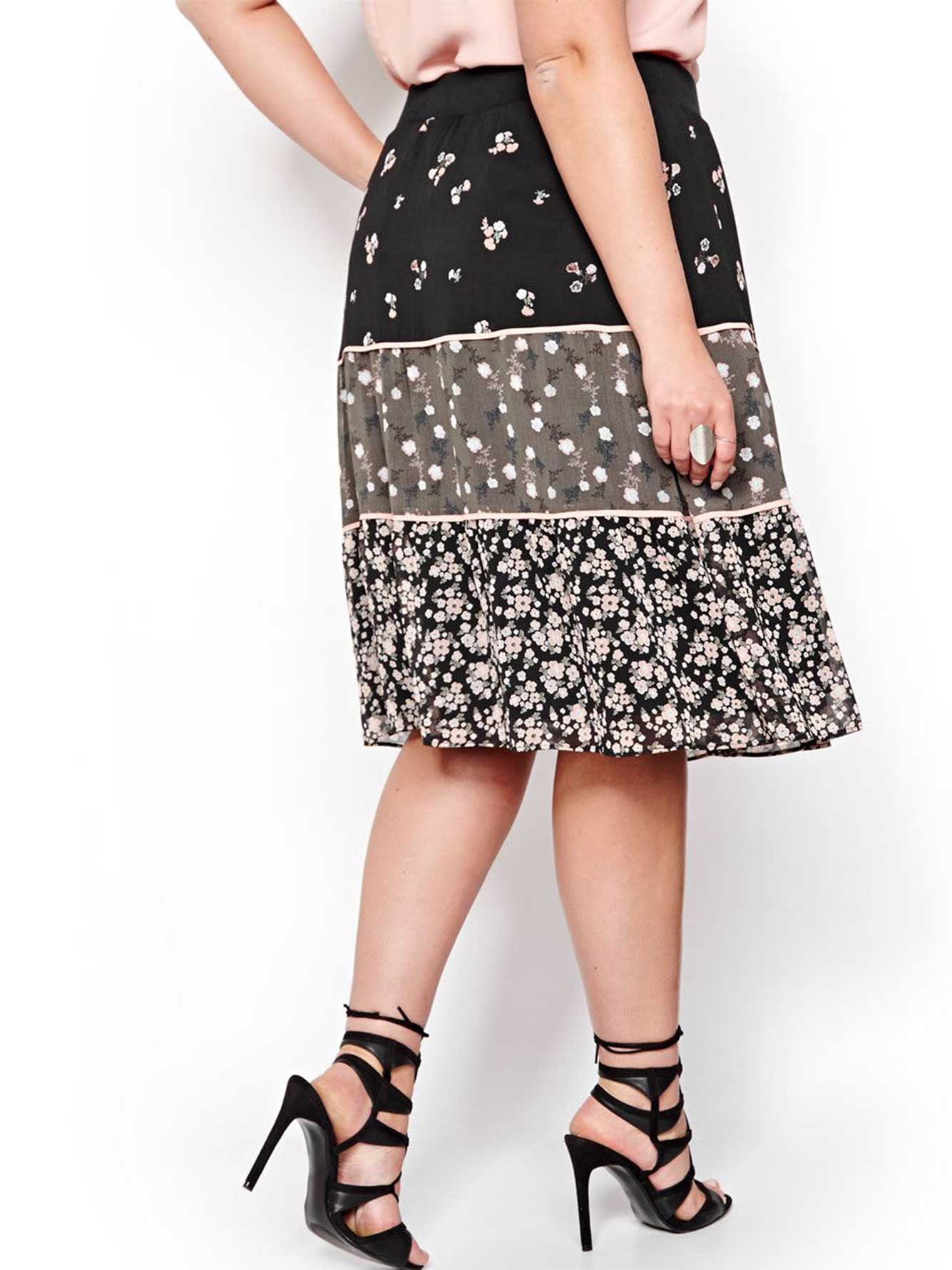 L&L Three-Tiered Printed Skirt