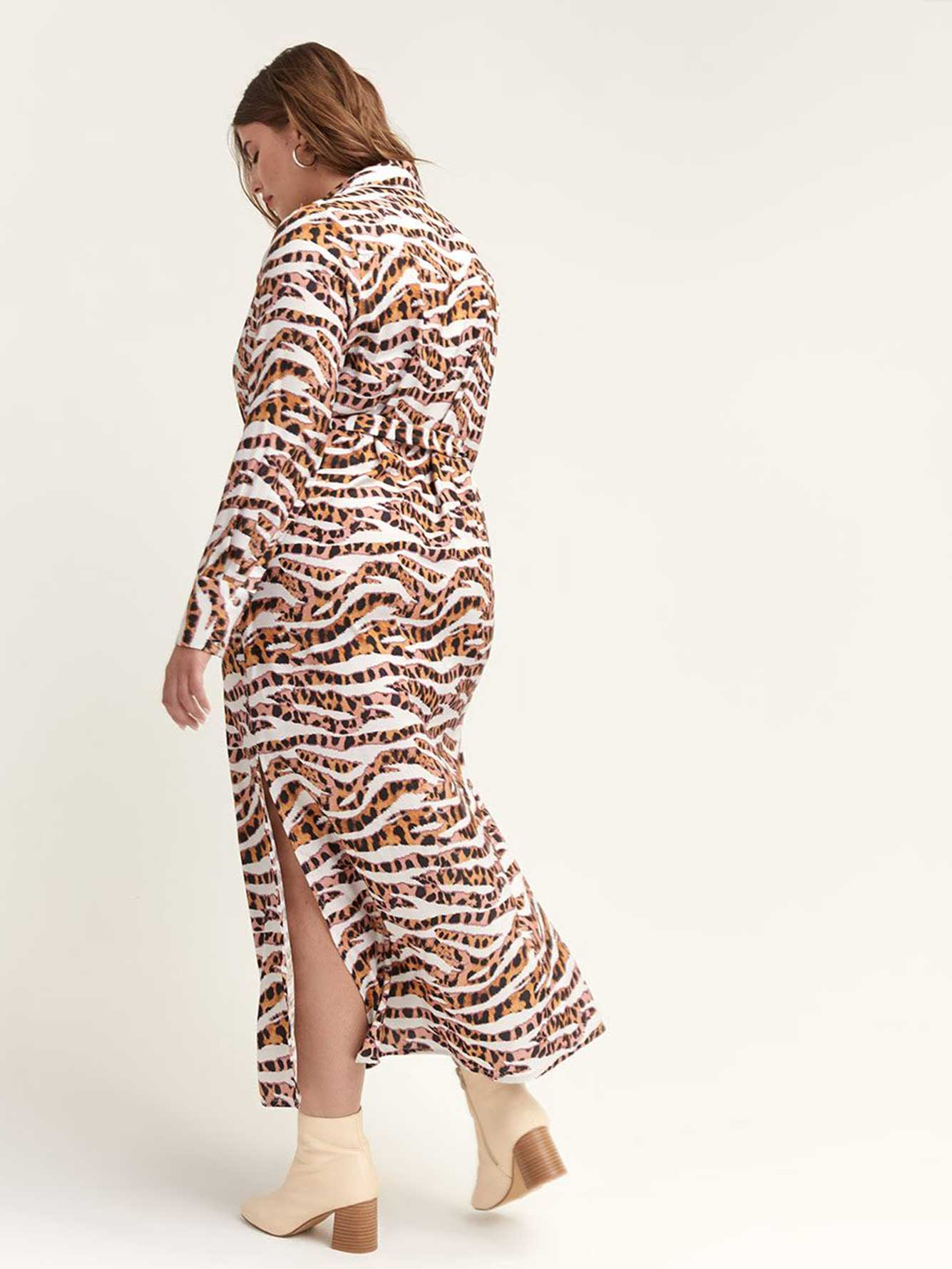 Animal Print Dress with Button-Down Front - Lost Ink