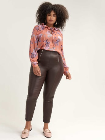 Coated Skinny Trouser with Zip Details - Lost Ink