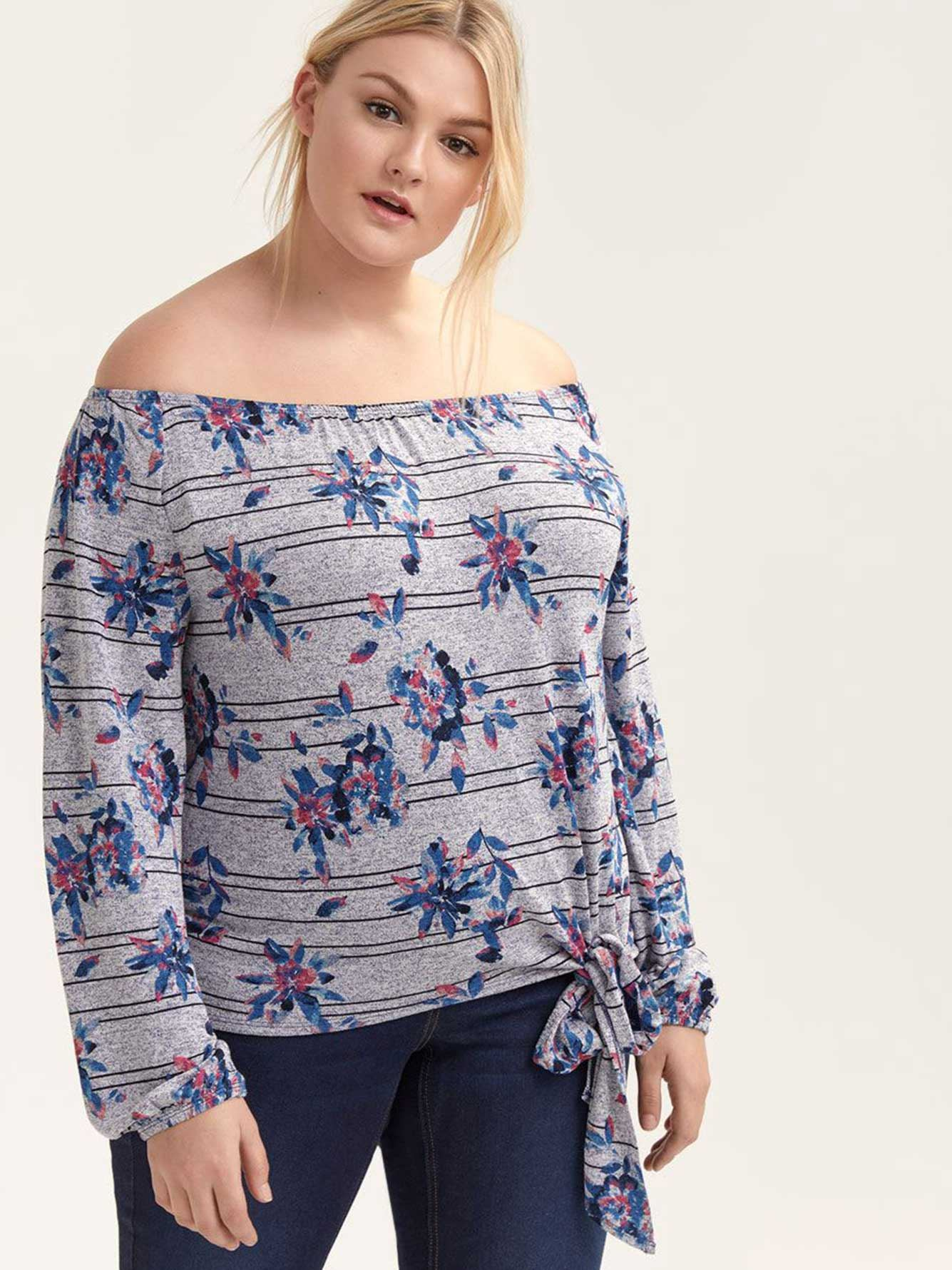 Off-the-Shoulder Printed Long Sleeve Top - L&L