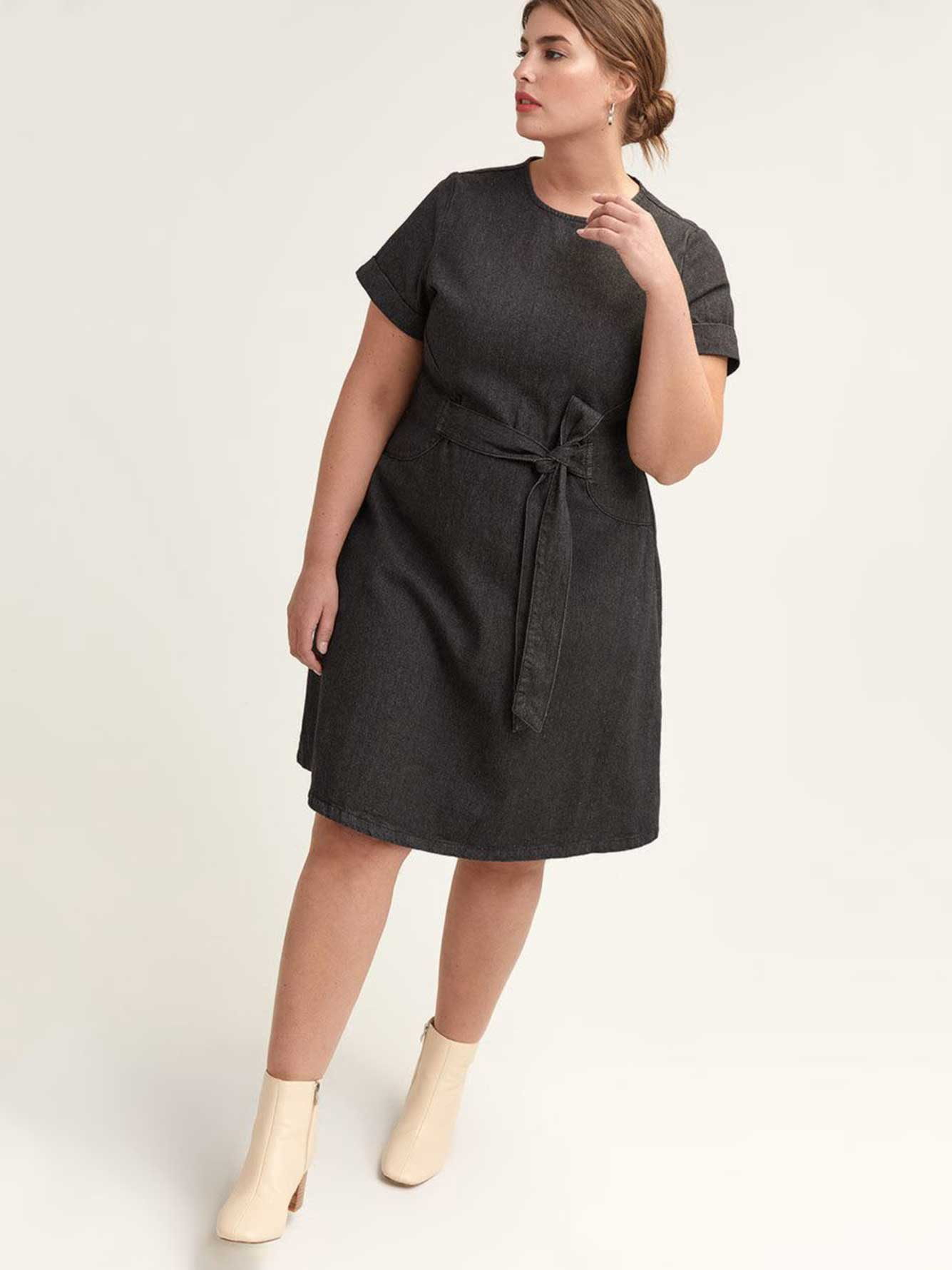 Denim Dress with Self-Tie in Front - Lost Ink