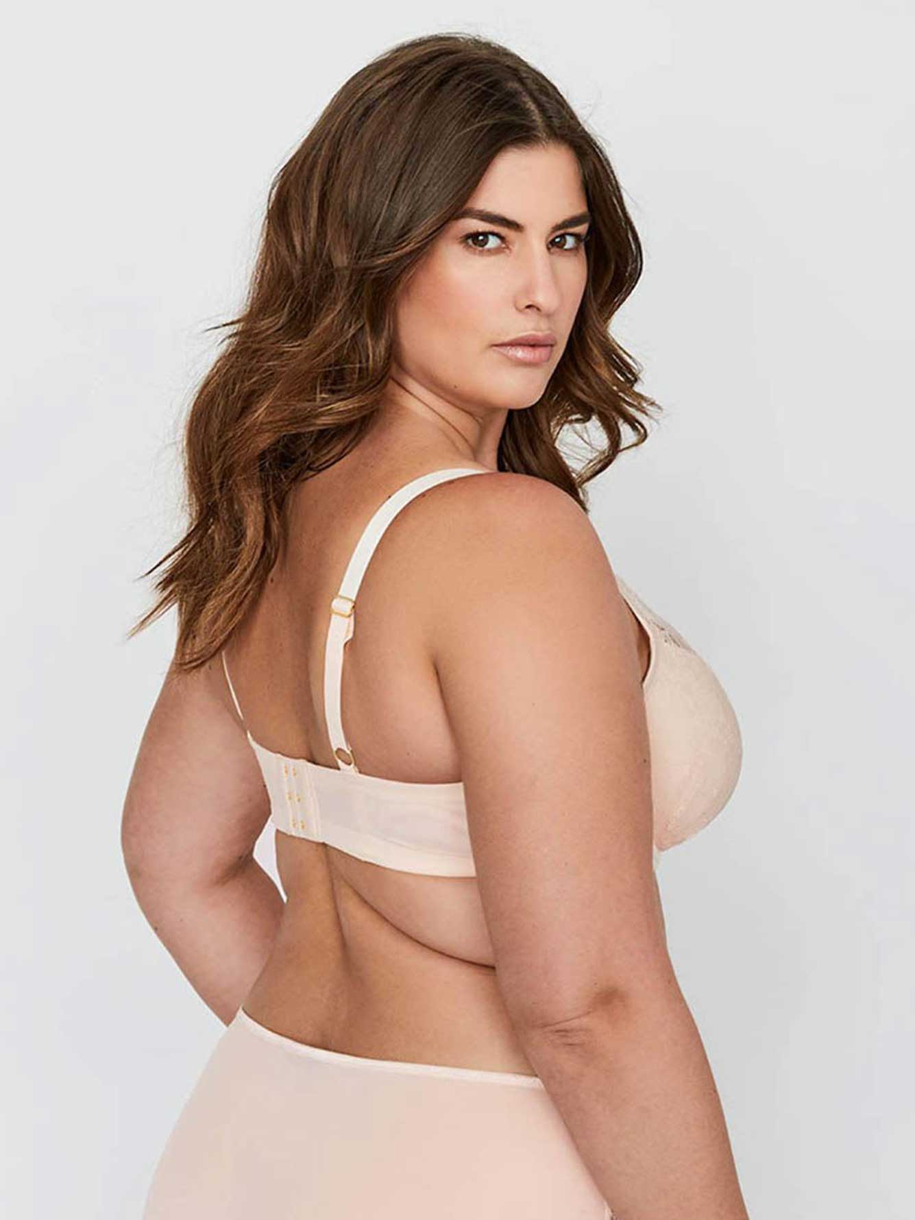 Ashley Graham Micro Fiber and Lace Diva Demi Cup Bra