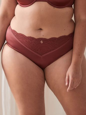 Ashley Graham - High Cut Brief Panty with Scalloped Lace
