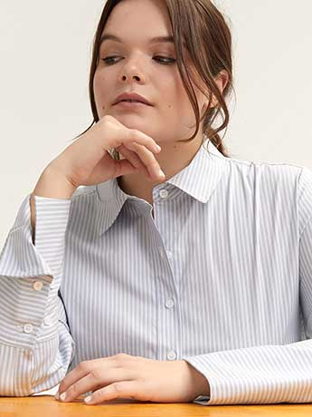 Button-Down Striped Shirt Blouse - L&L