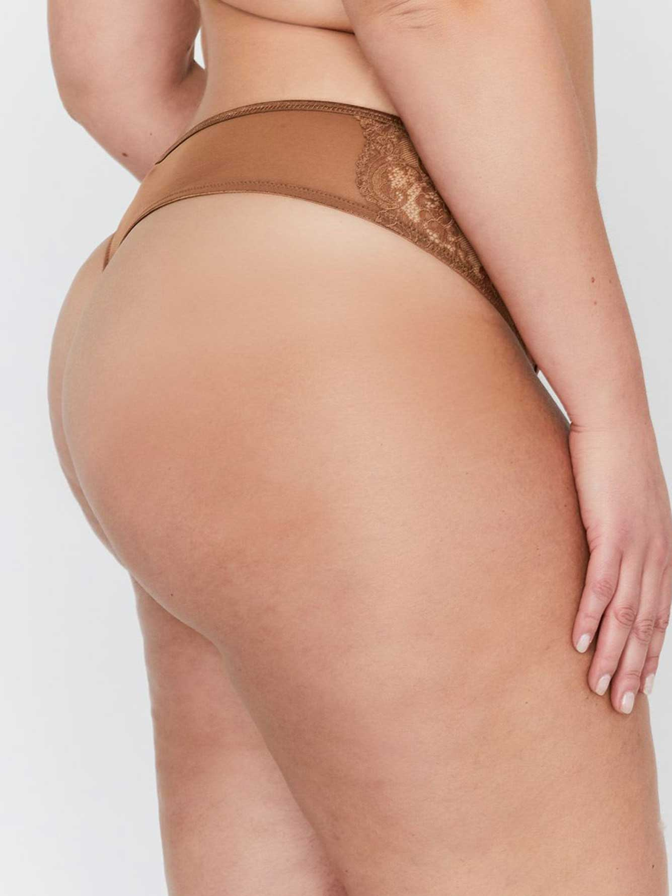 Ashley Graham Thong Panty with Side Lace Inserts