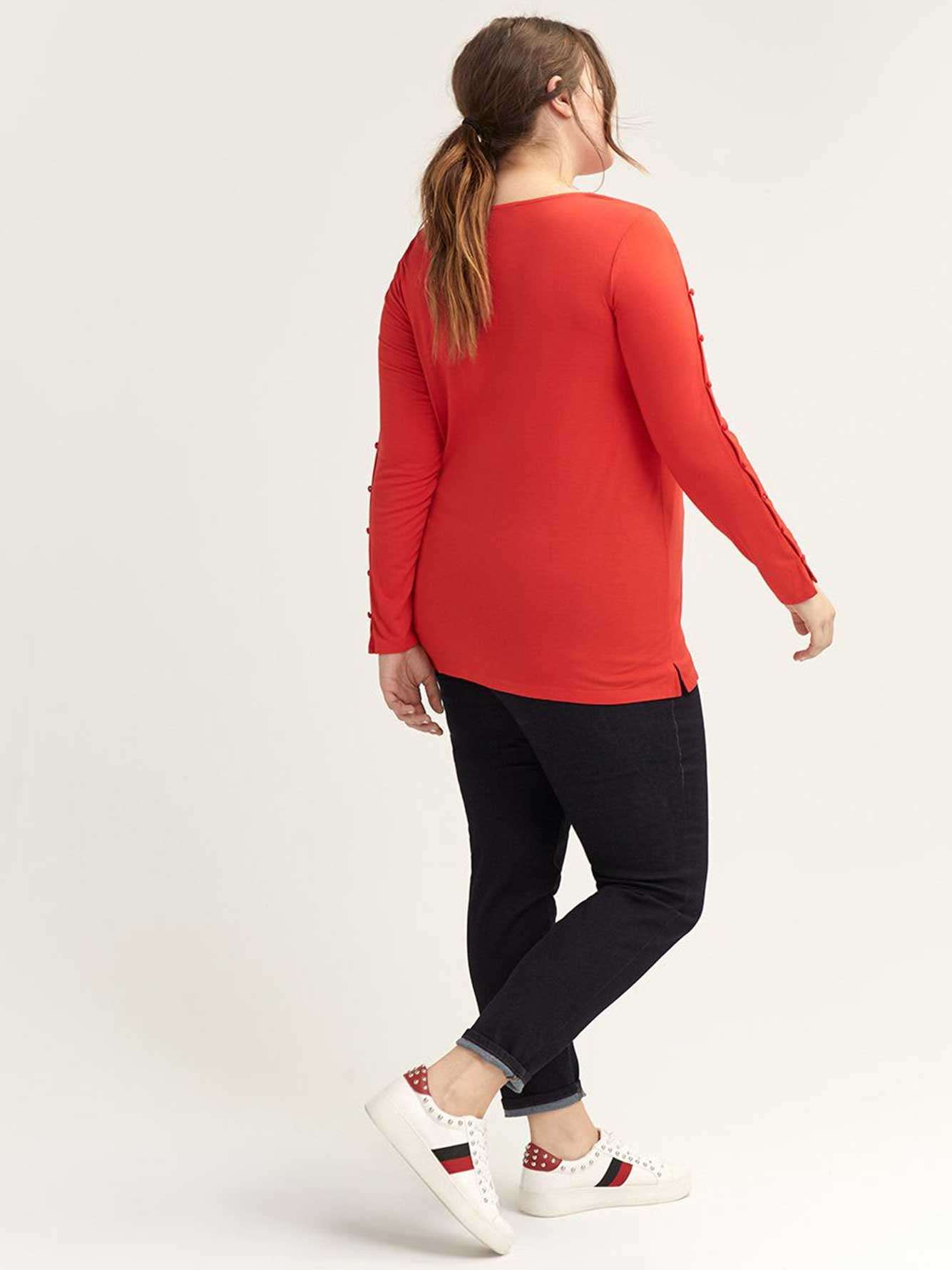 Scarlet Crew-Neck Top with Button-Embellished Sleeves - L&L