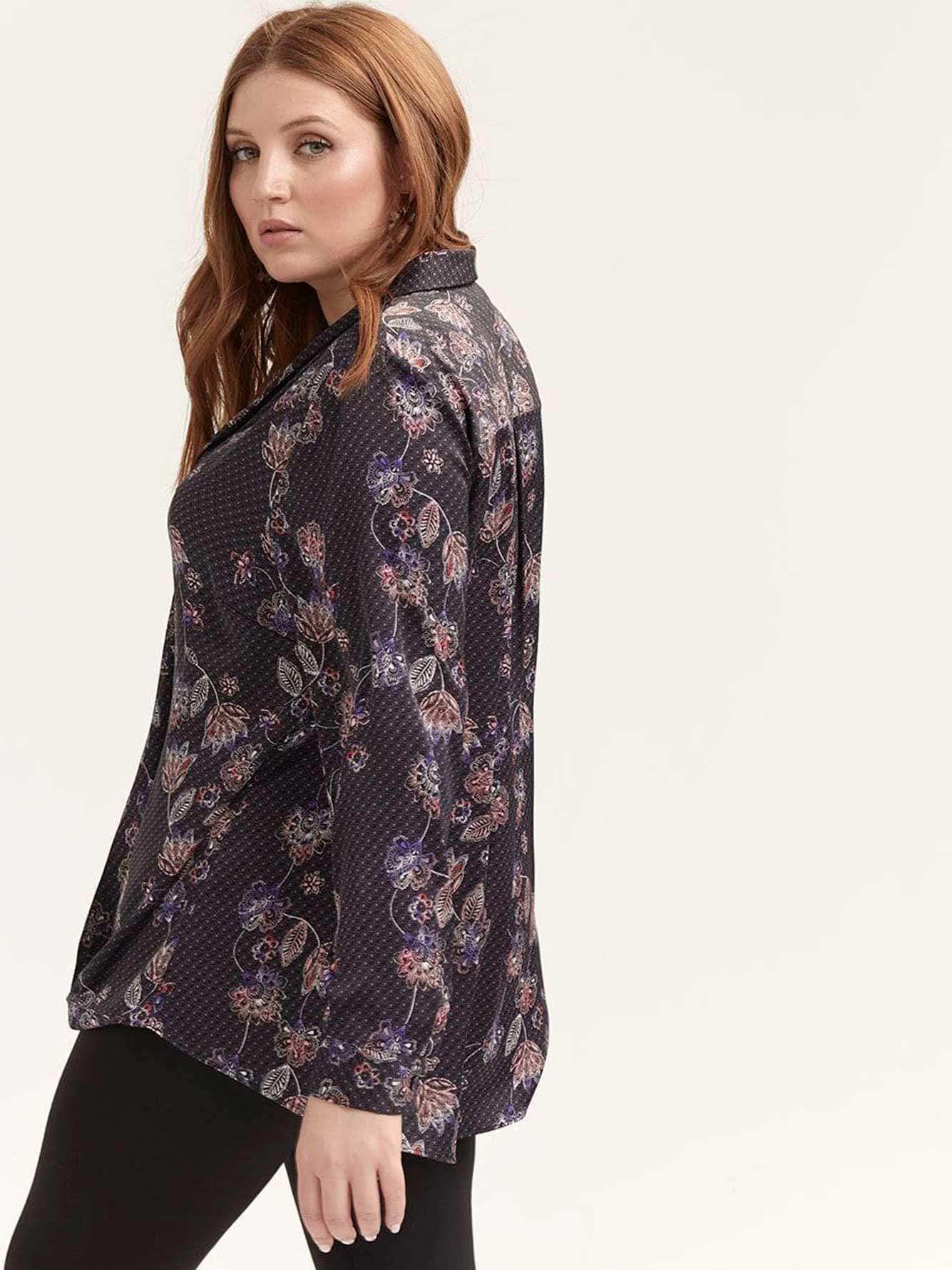 Tie Neck Button-Down Blouse - Michel Studio