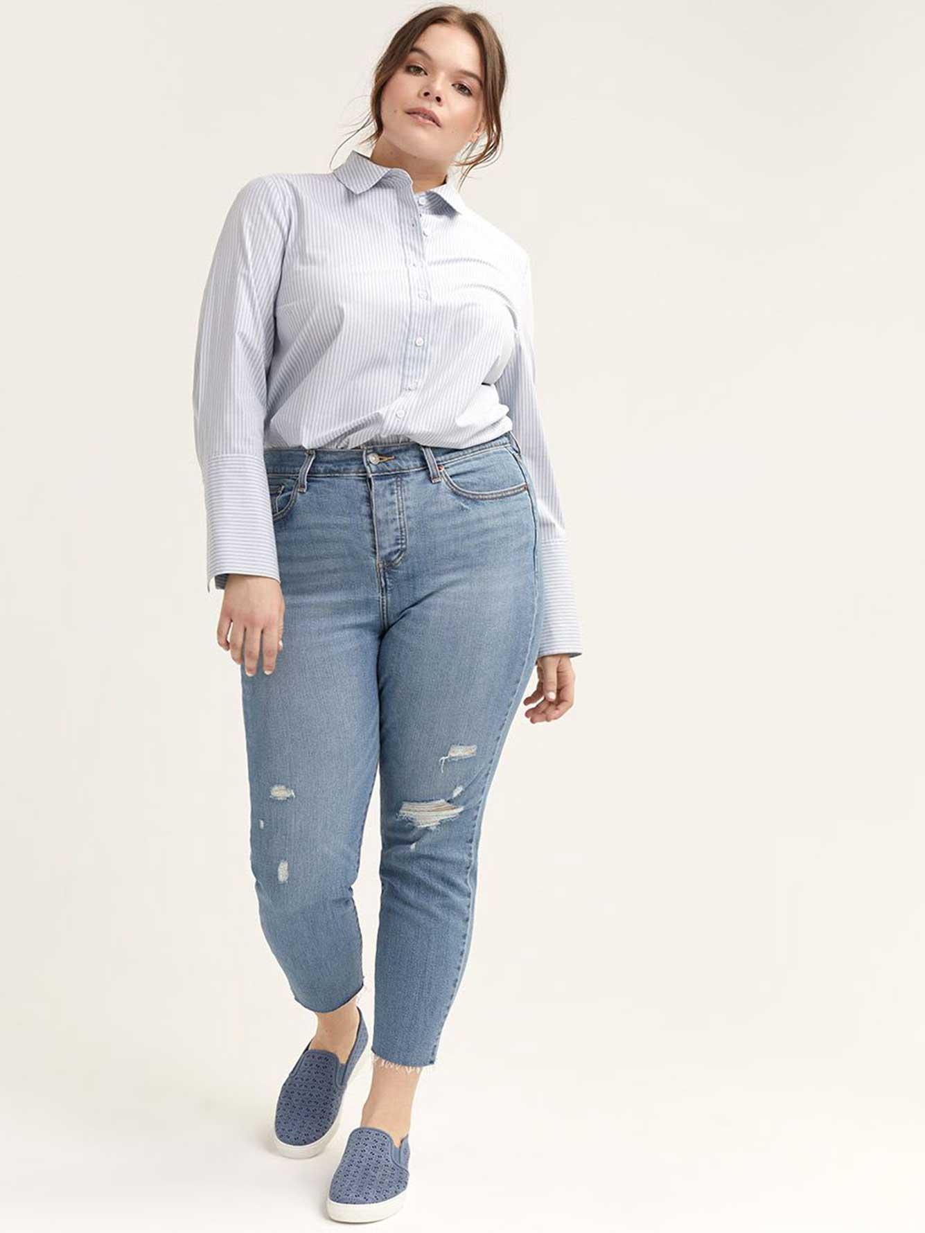 Button-Down Striped Shirt Blouse - L&L