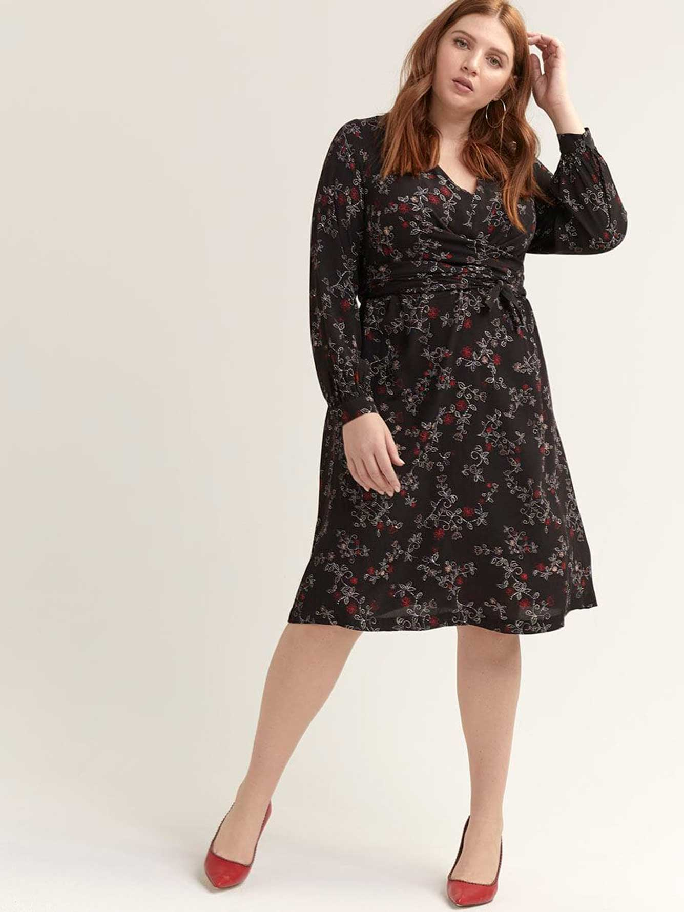 Crisscross Faux Wrap Printed Dress - Michel Studio