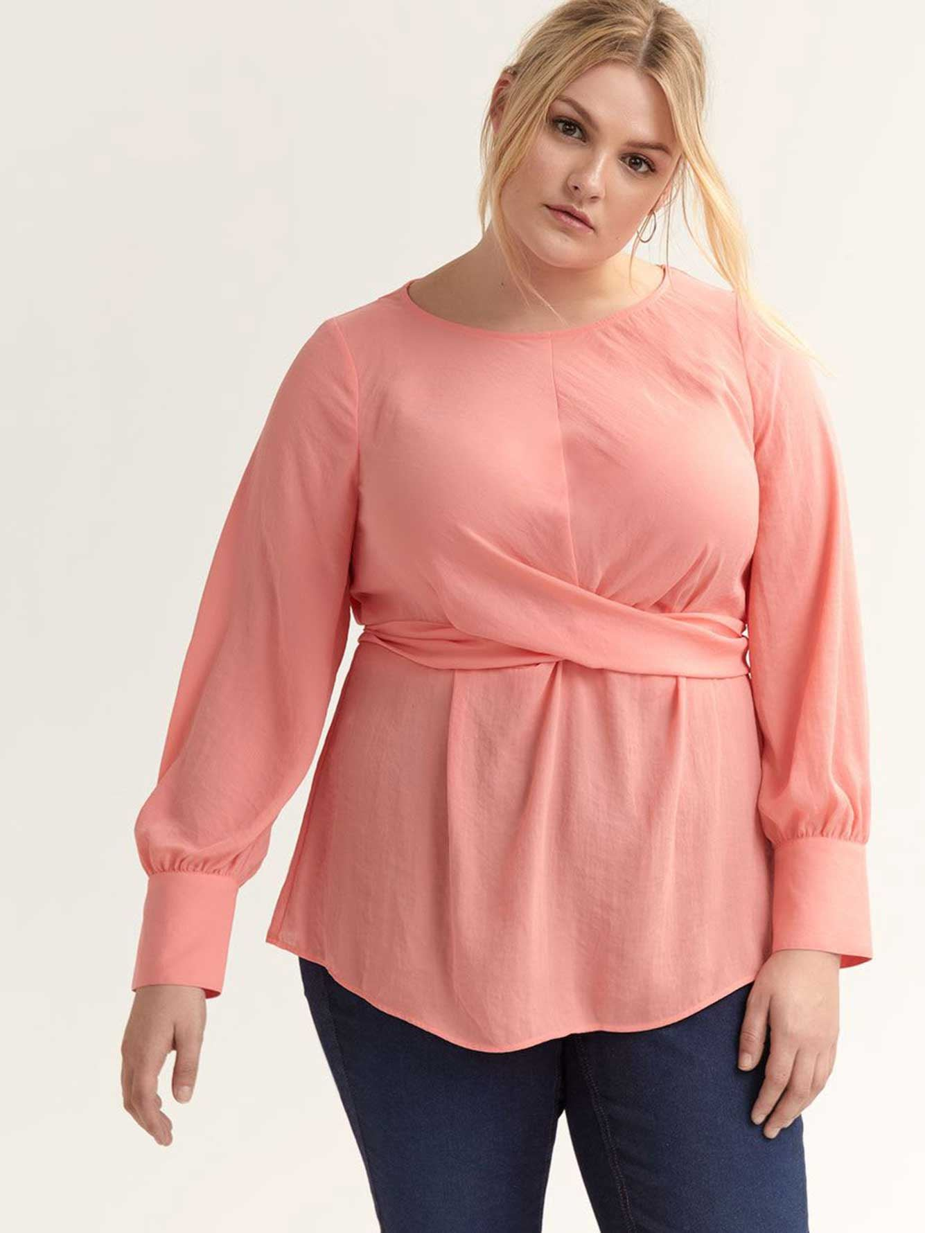 Knotted Blouse with Puffy Sleeves - L&L