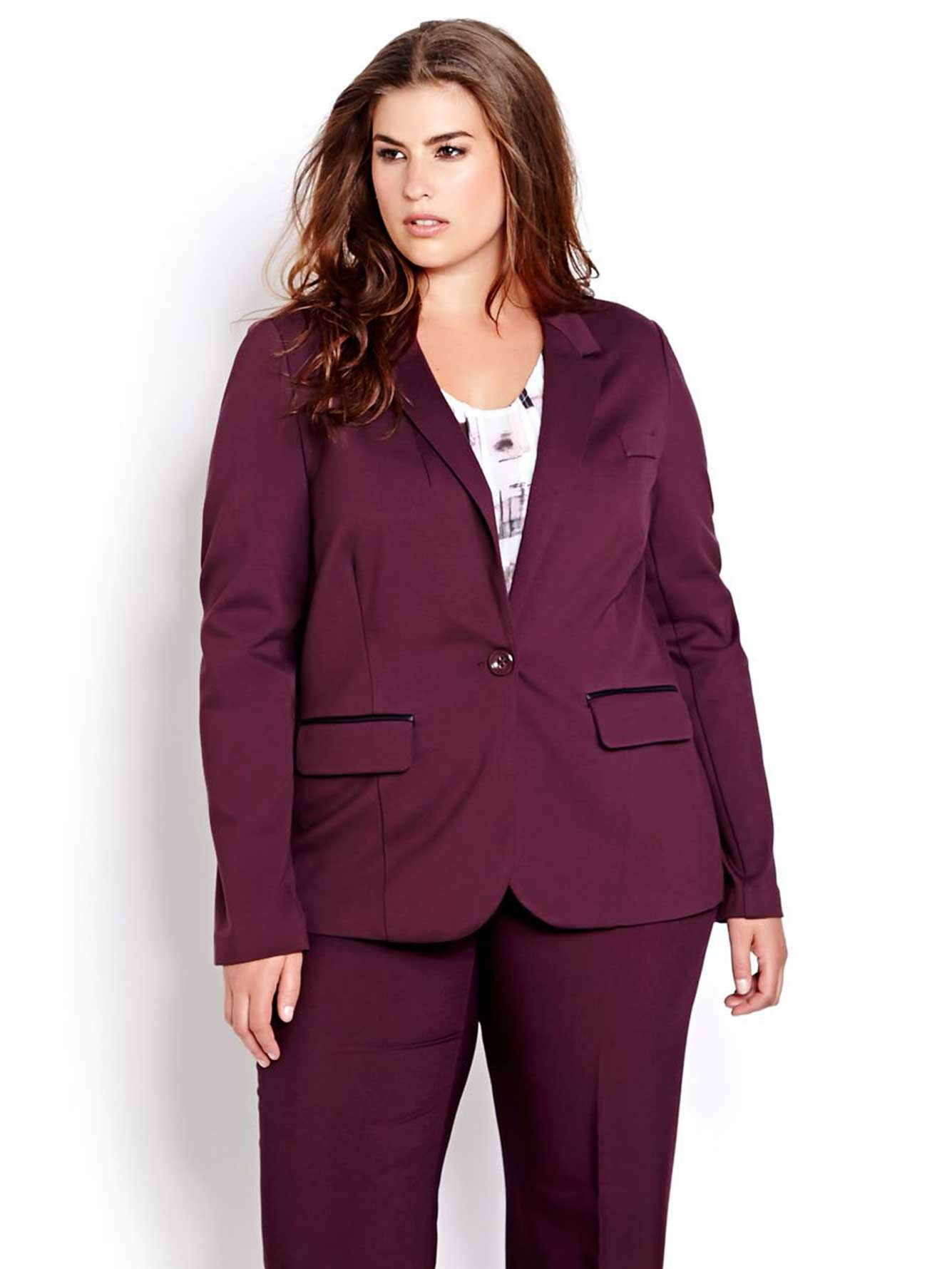 Michel Studio Long Sleeve Blazer With Faux Leather