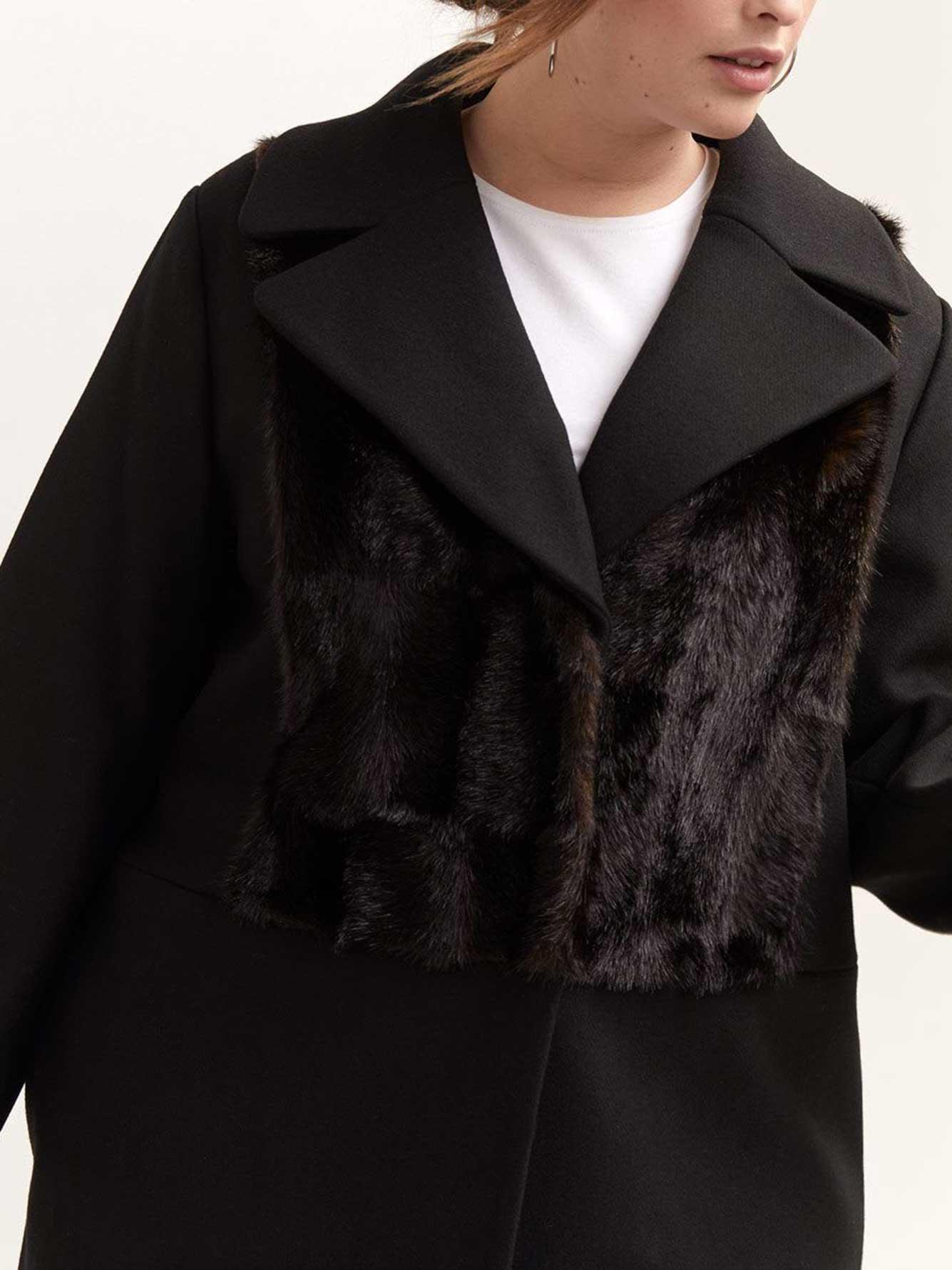 Coat with Faux Fur Applique - RACHEL by Rachel Roy