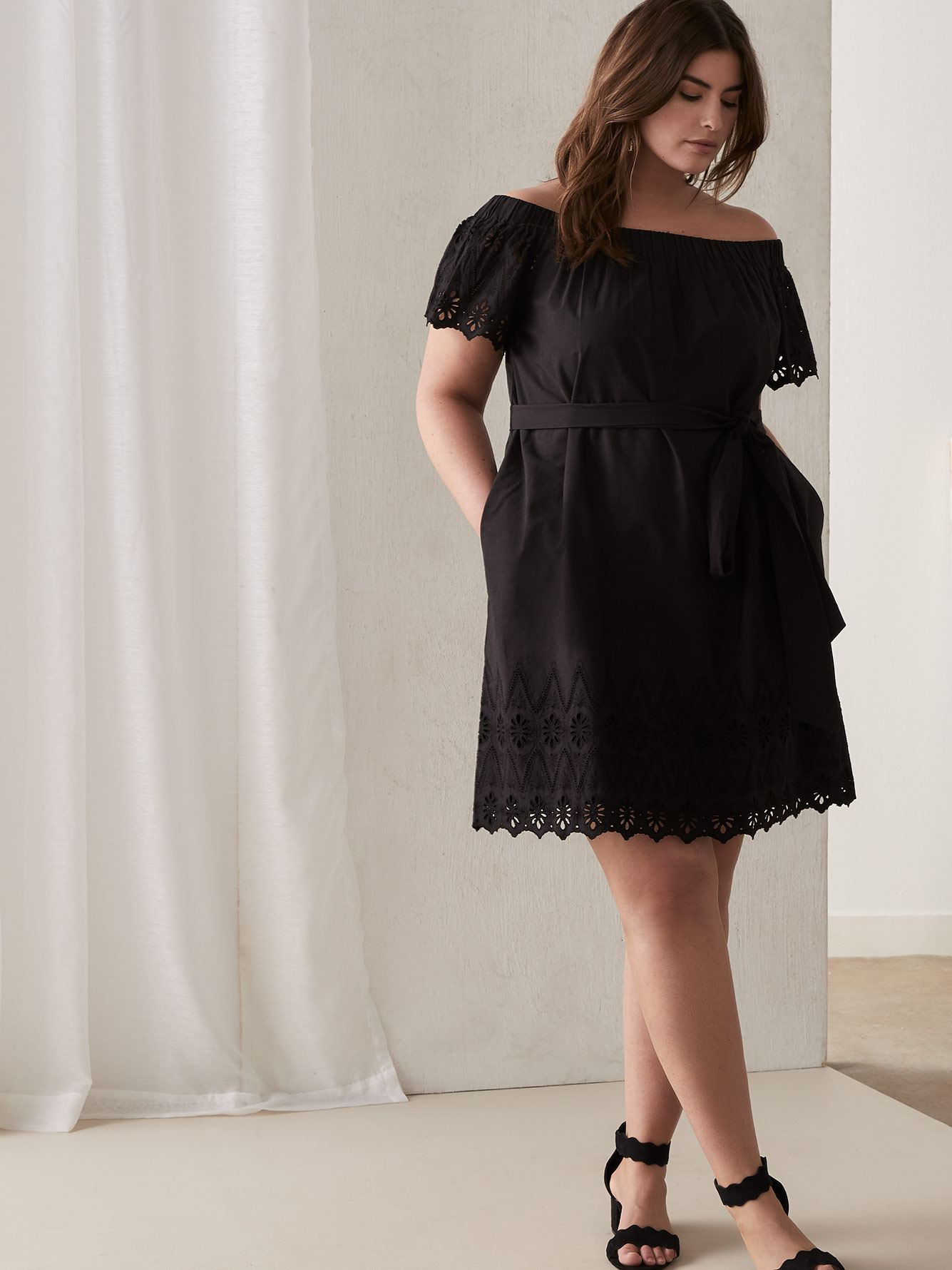 Off-the-Shoulder Ilenia Cotton Dress with Lace - RACHEL Rachel Roy