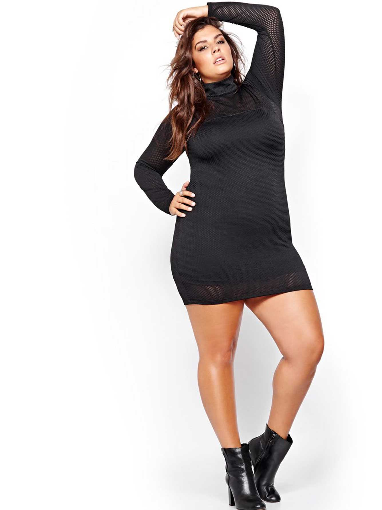 Nadia Aboulhosn Long Sleeve Mesh Dress for L&L