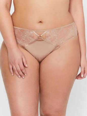 Culotte tanga de dentelle et à rayures Essentiels Ashley Graham